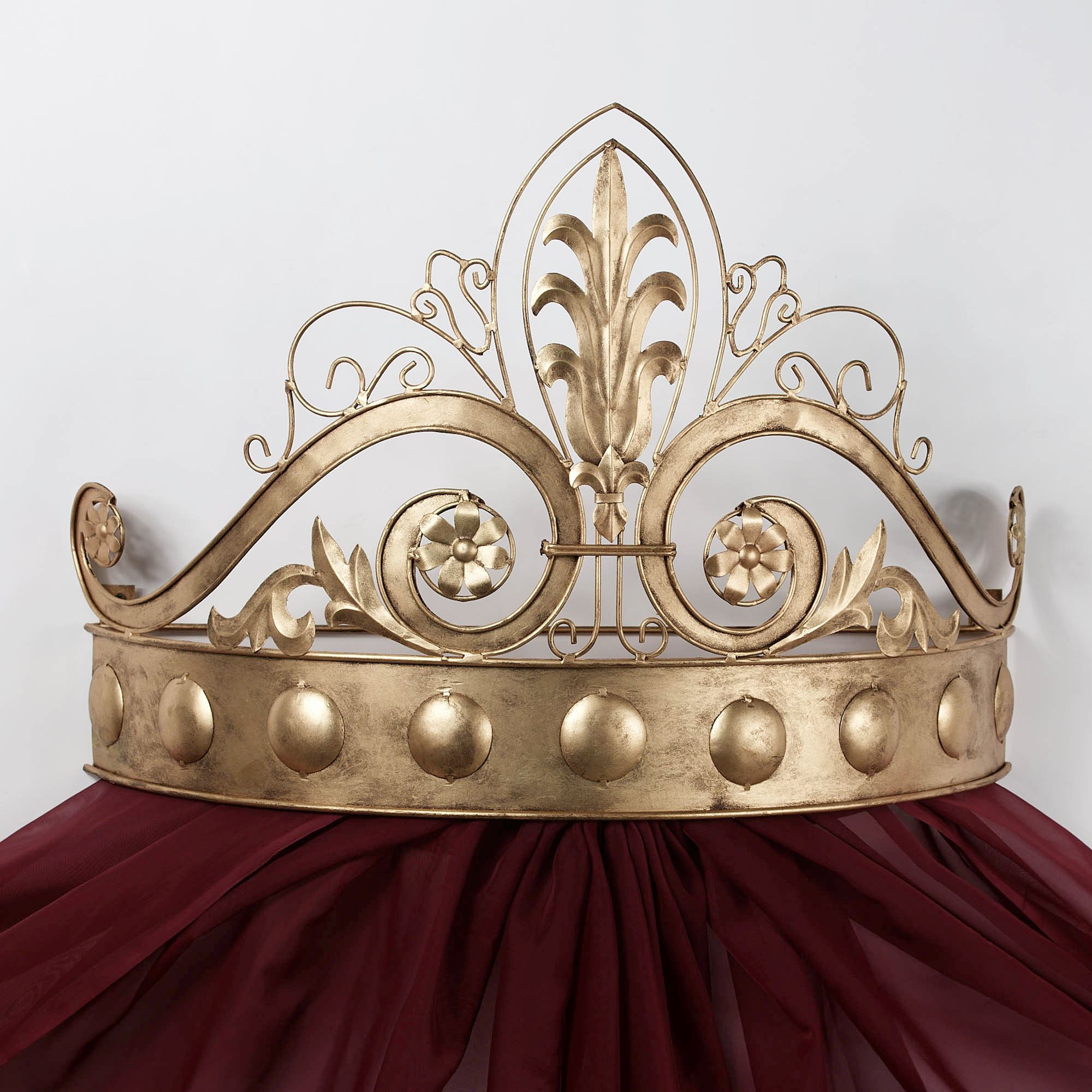 Wall teesters bed crowns touch of class lamoreaux wall teester bed crown antique gold amipublicfo Gallery
