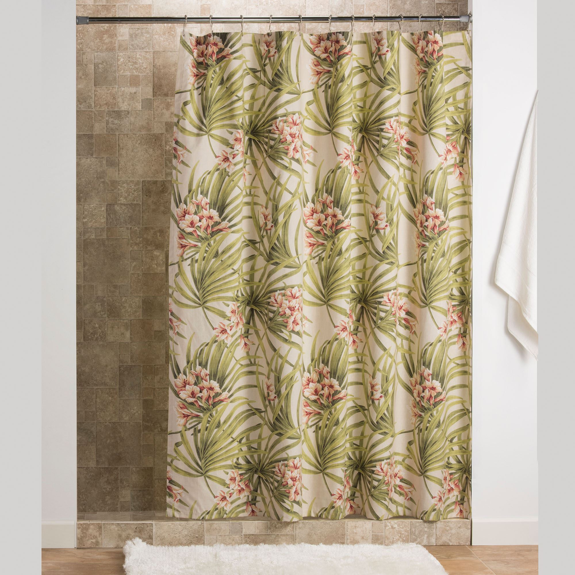 Katia Tropical Shower Curtain Light Cream 72 X 75 Touch To Zoom