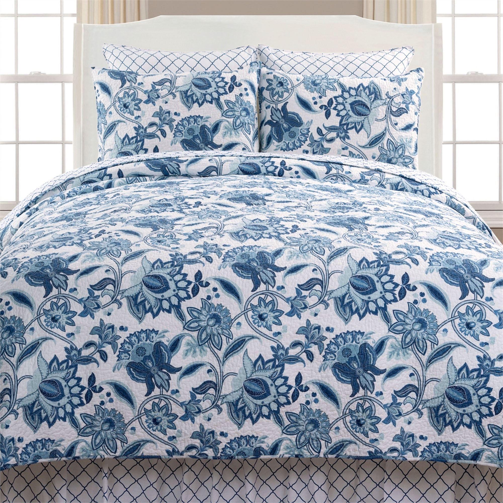 Julianna Blue Jacobean Floral Mini Quilt Set