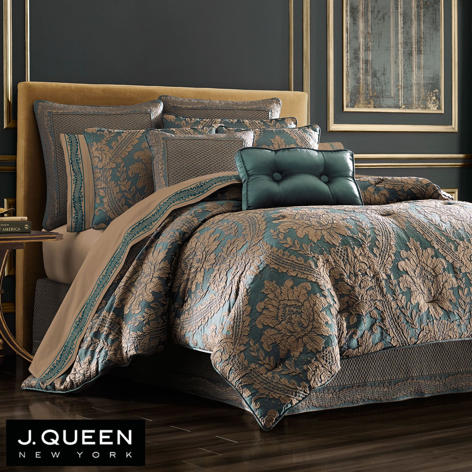 Montgomery Amber And Emerald Green Comforter Bedding By J