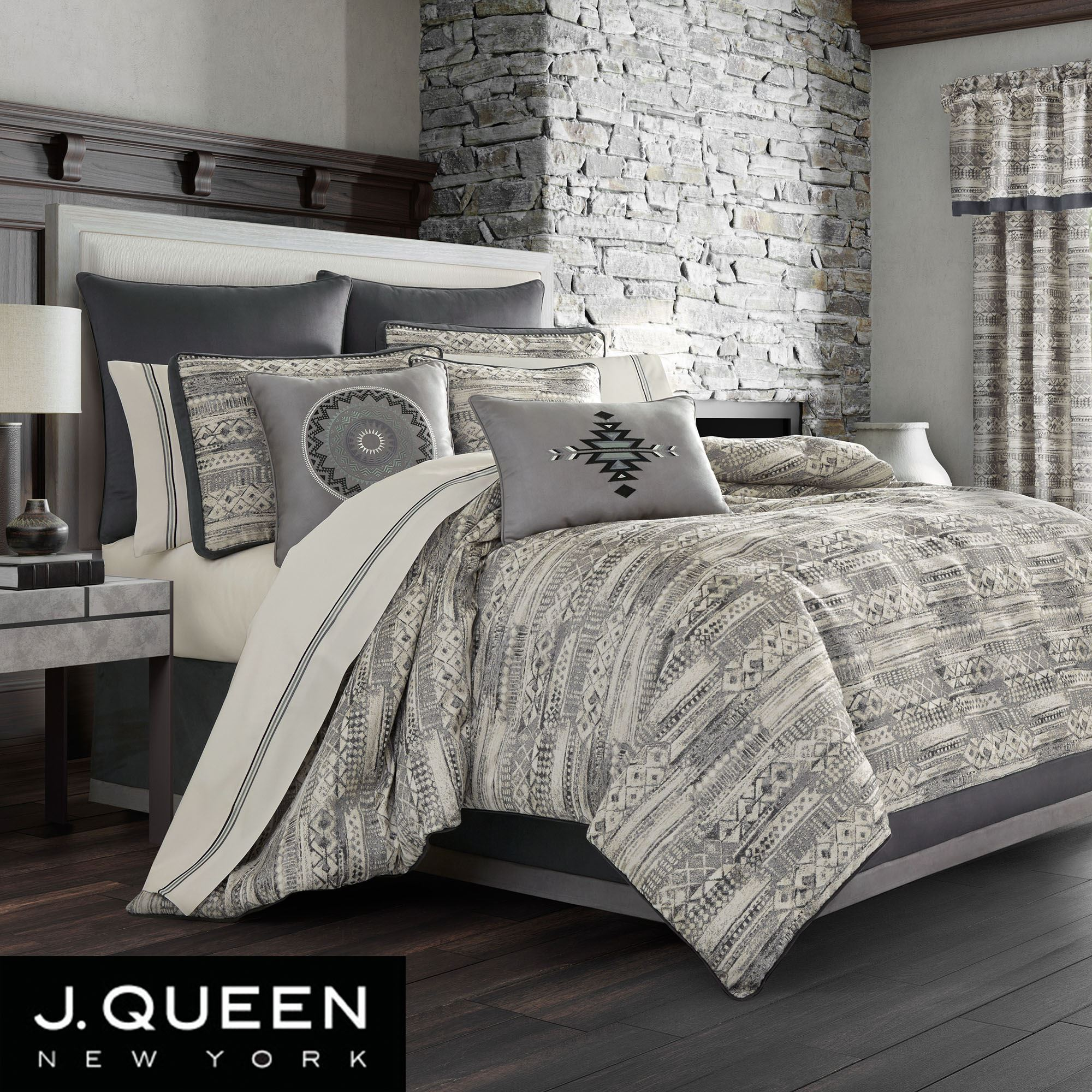 Brandon Silver And Gray Geometric Comforter Bedding By J