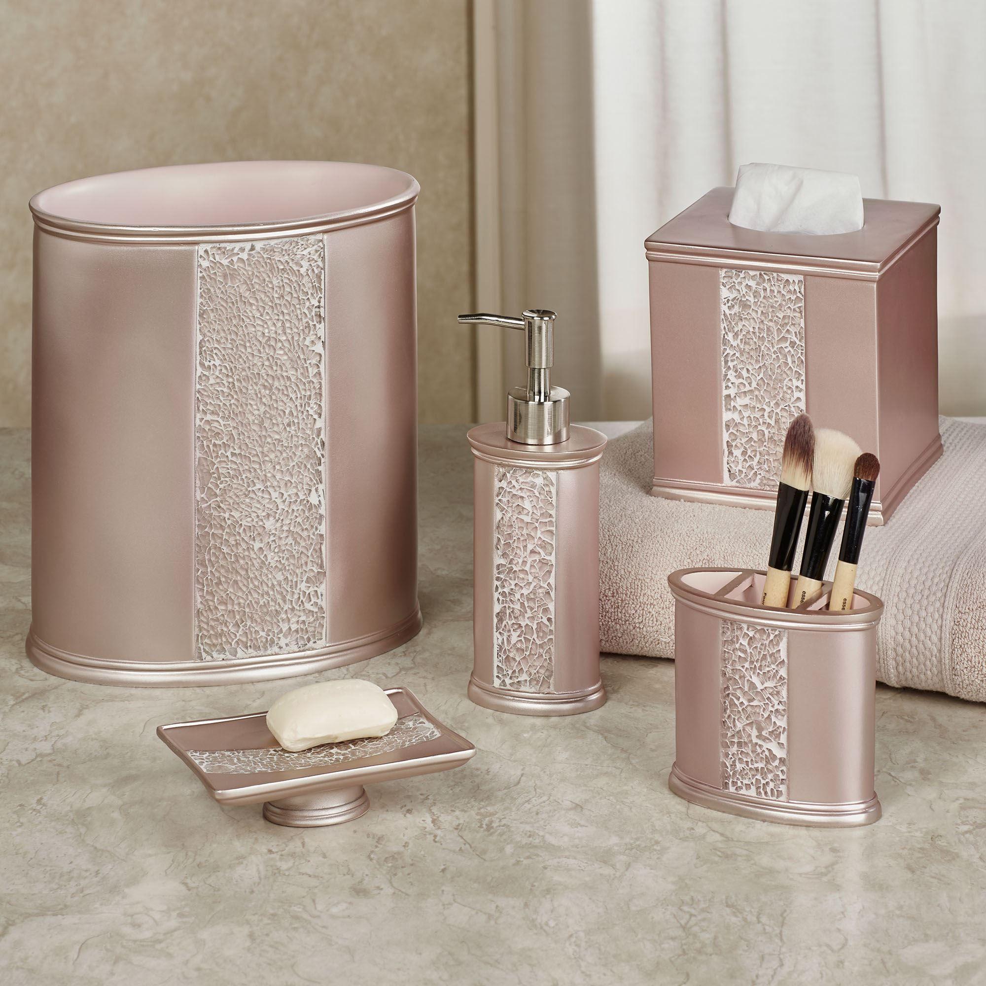 Sinatra Pale Blush Mosaic Bath Accessories, Sinatra Bathroom Accessories