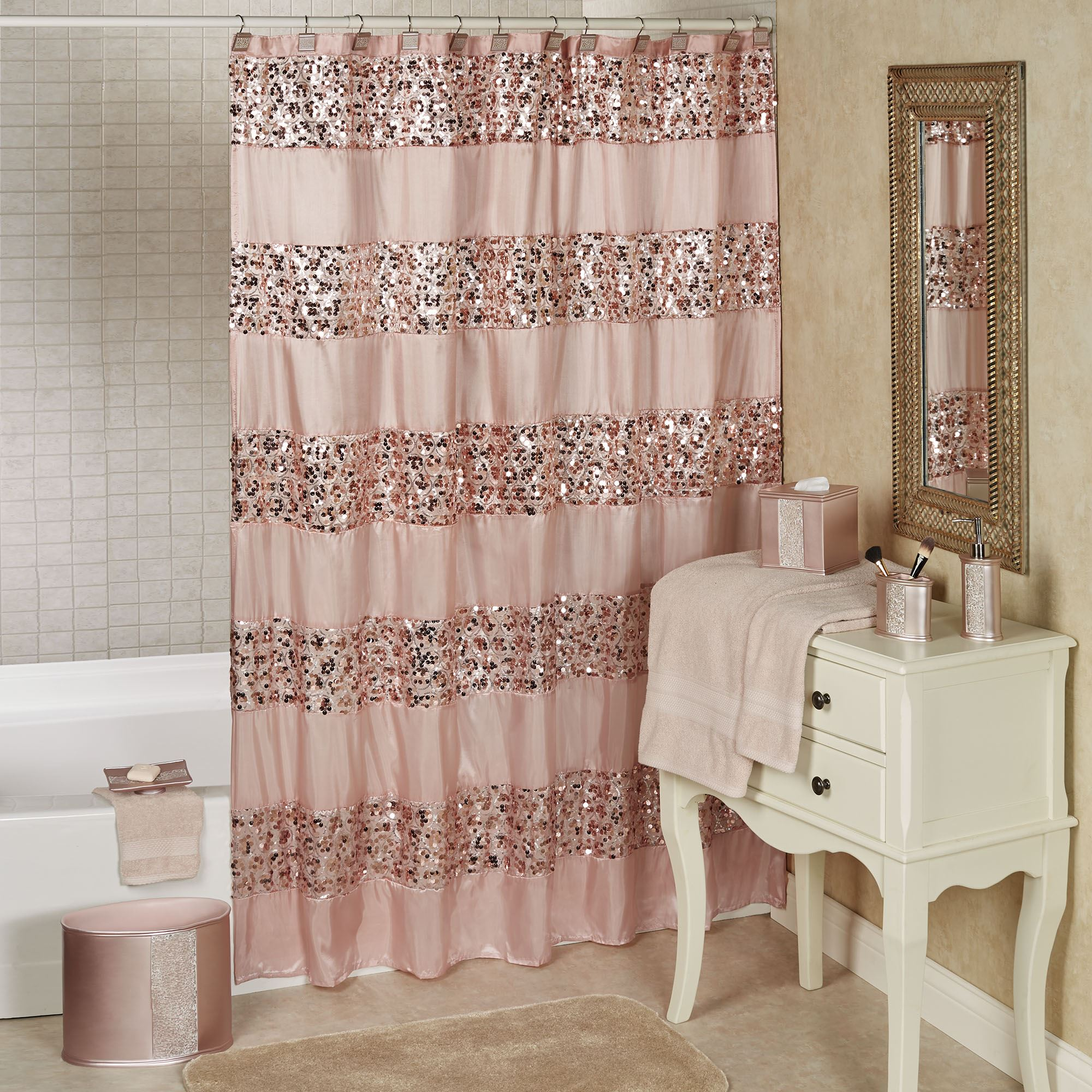 Sinatra Pale Blush Sequined Shower Curtain