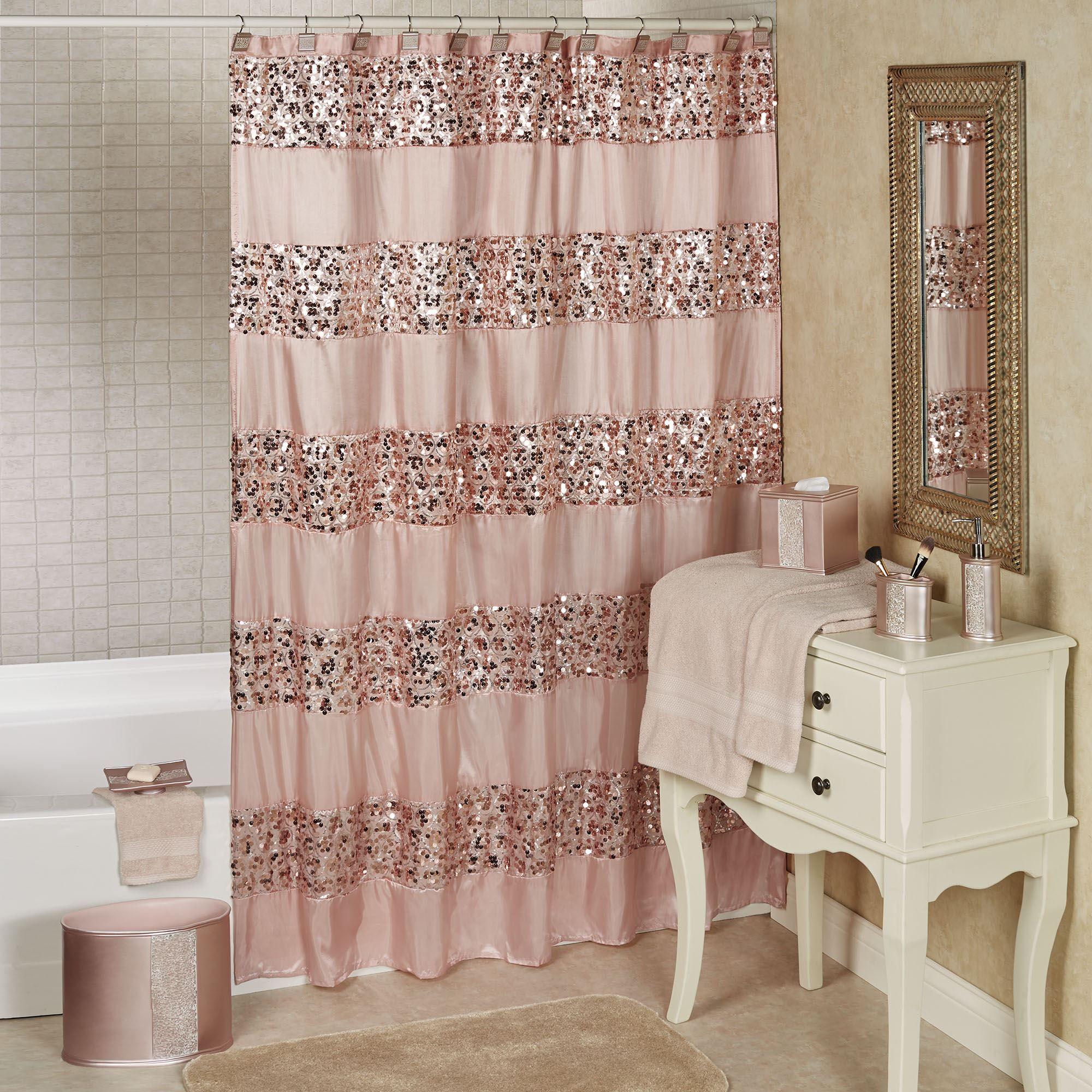 Sinatra Pale Blush Sequined Shower Curtain, Sinatra Bathroom Accessories