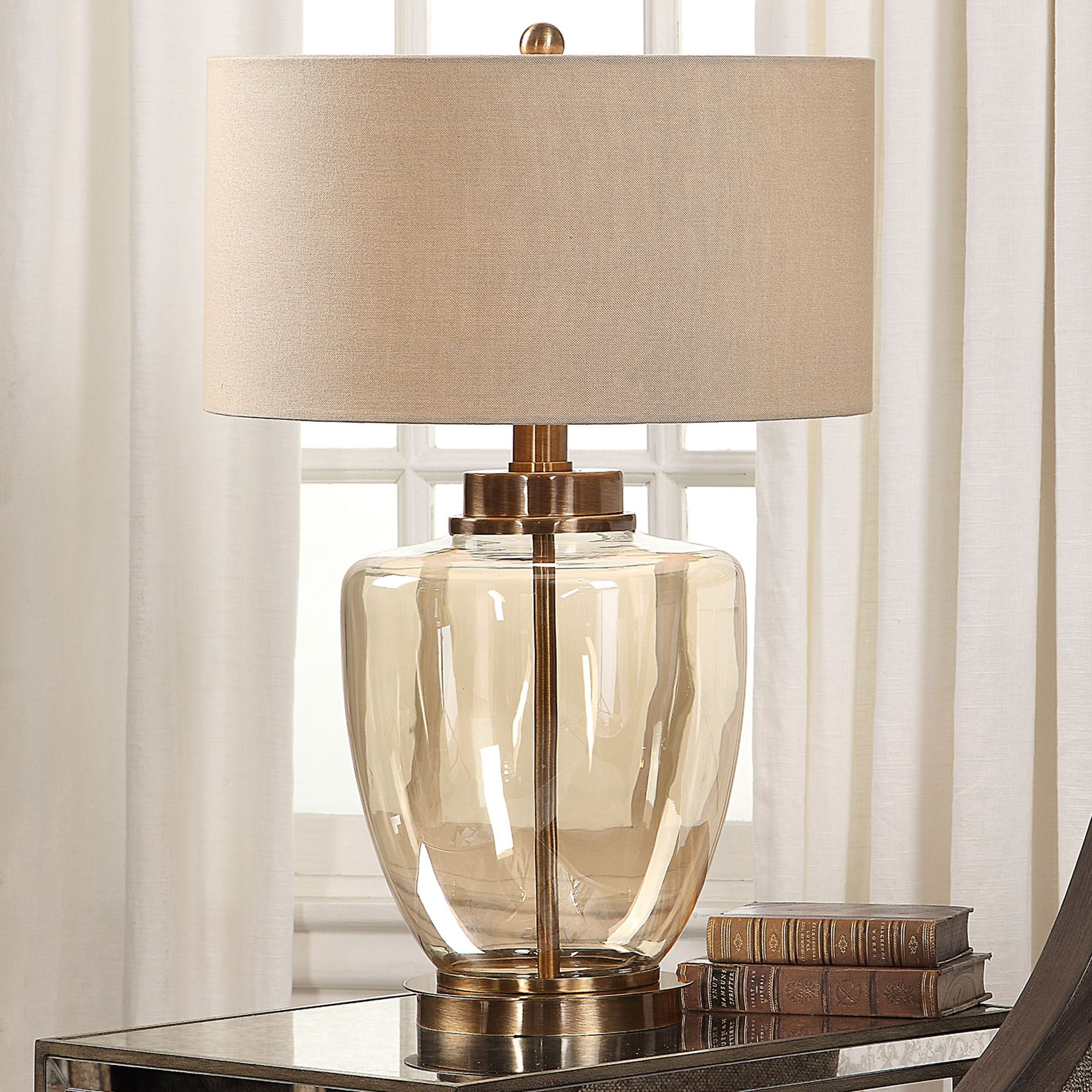 Idona Amber Glass Table Lamp