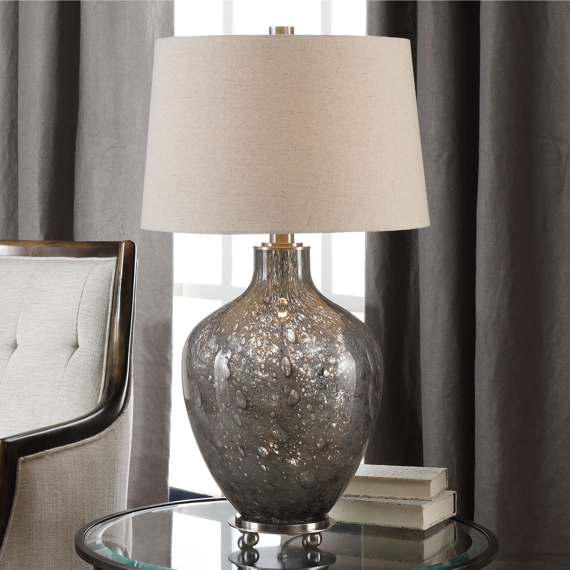 Adria Transparent Gray Seeded Glass Table Lamp By Carolyn Kinder