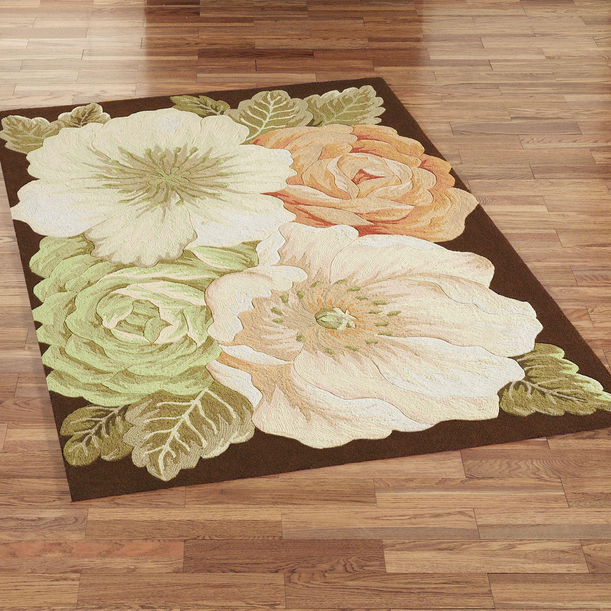 Magnolia rectangle rug brown