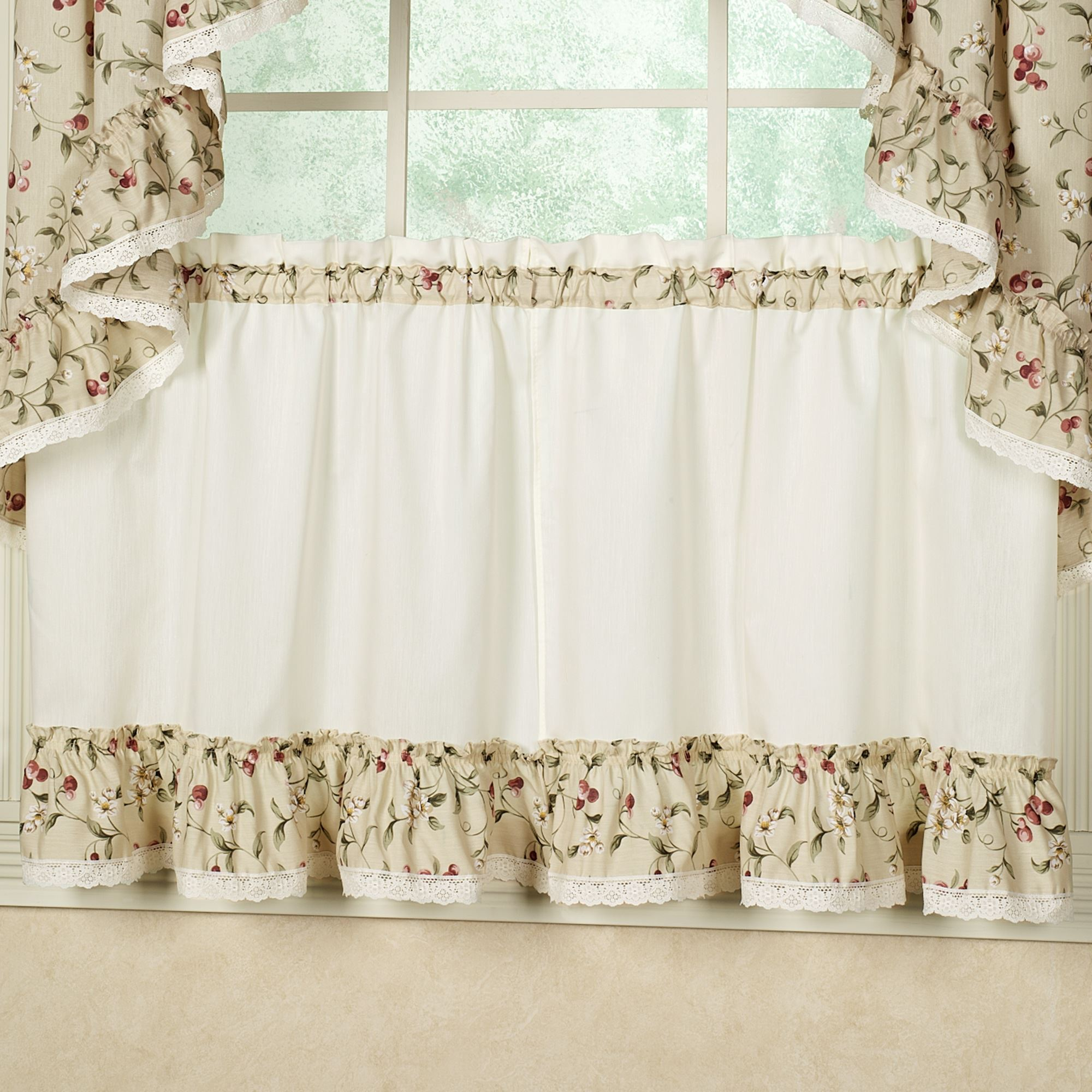 Cherries Tier Kitchen Window Treatment