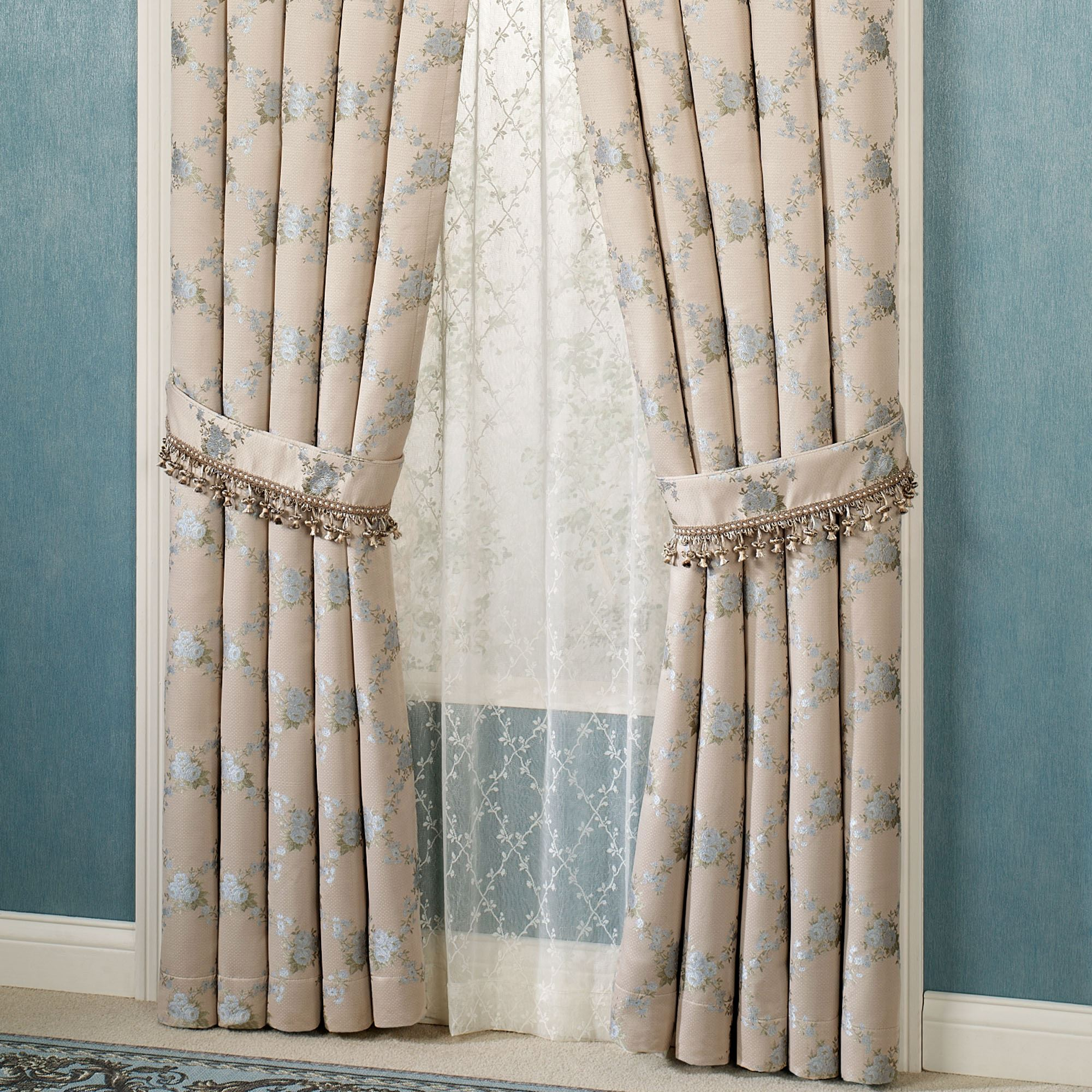 Blooming Treillage Curtain Pair Periwinkle 84 X