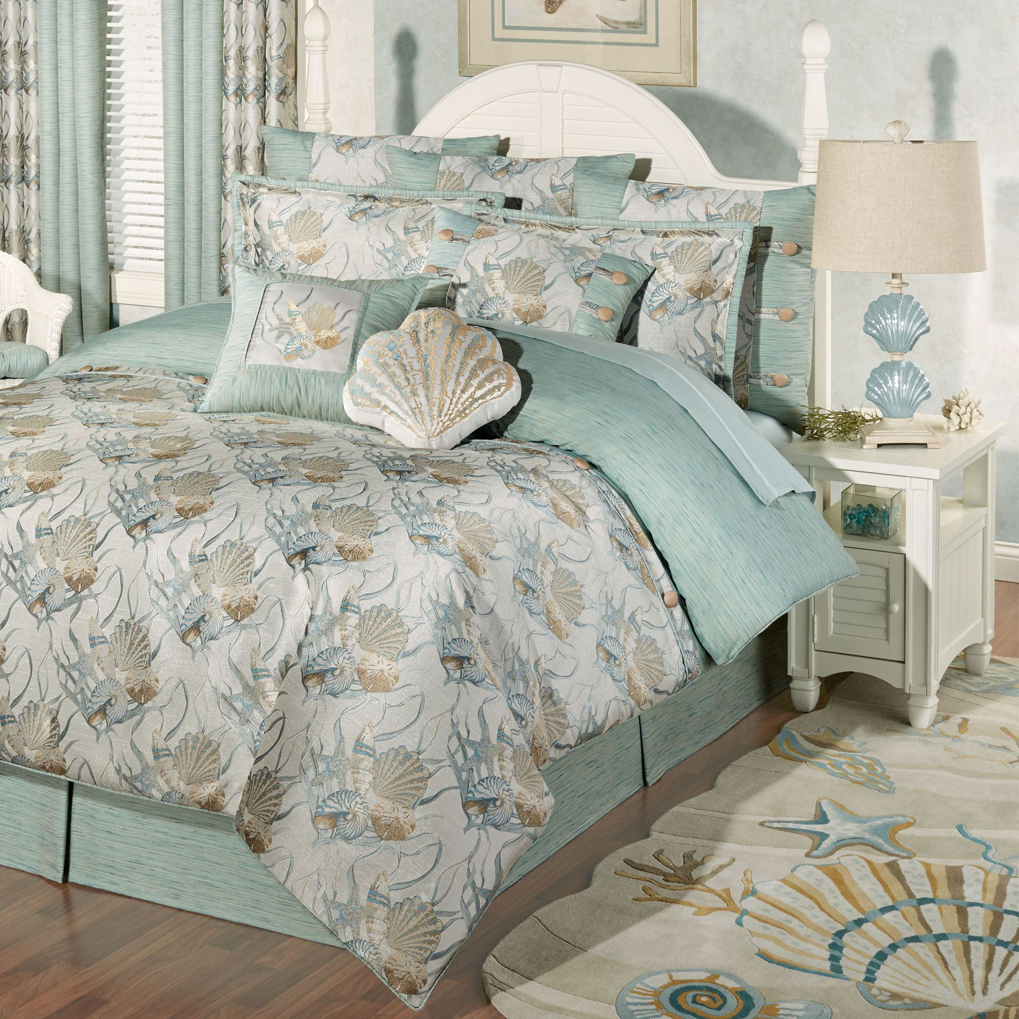 Coastal dream seashell comforter bedding - Bedroom sheets and comforter sets ...