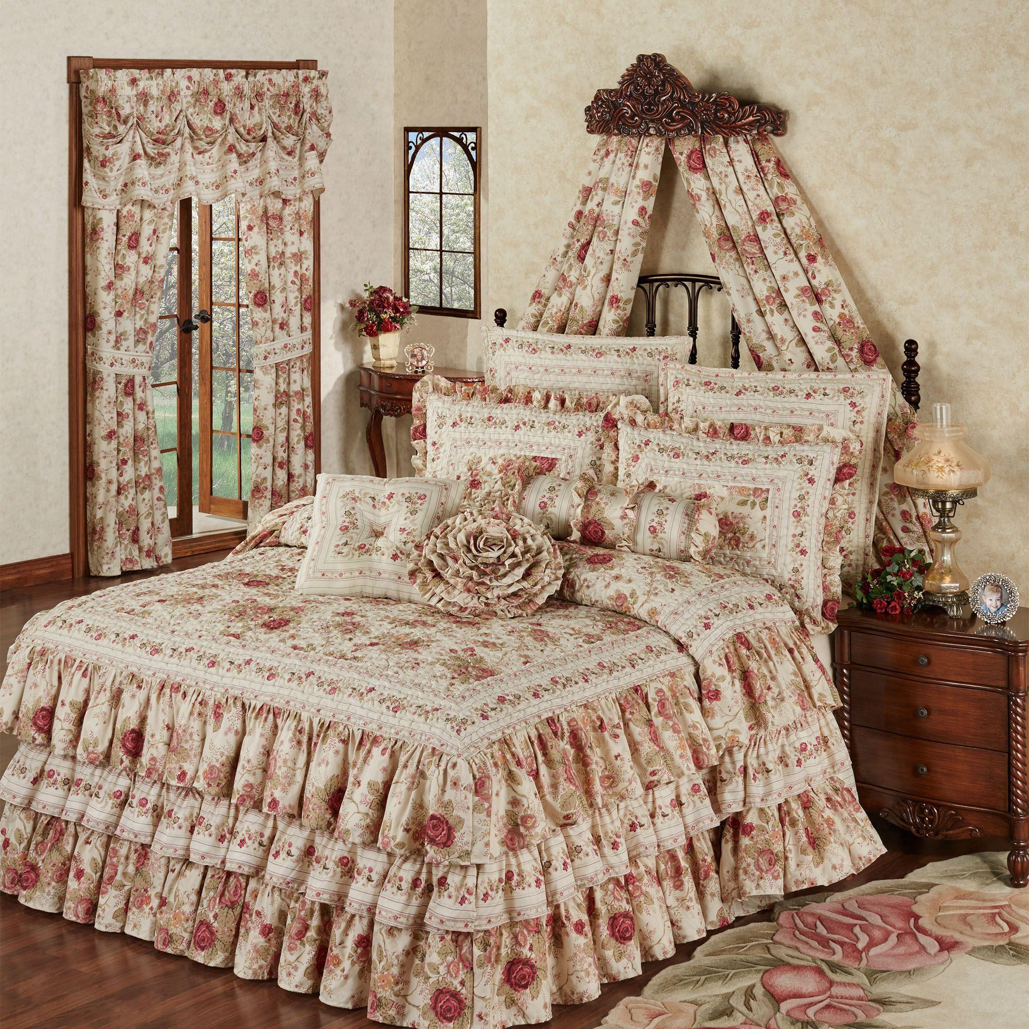 Heirloom Rose Floral Ruffled Grande Bedspread