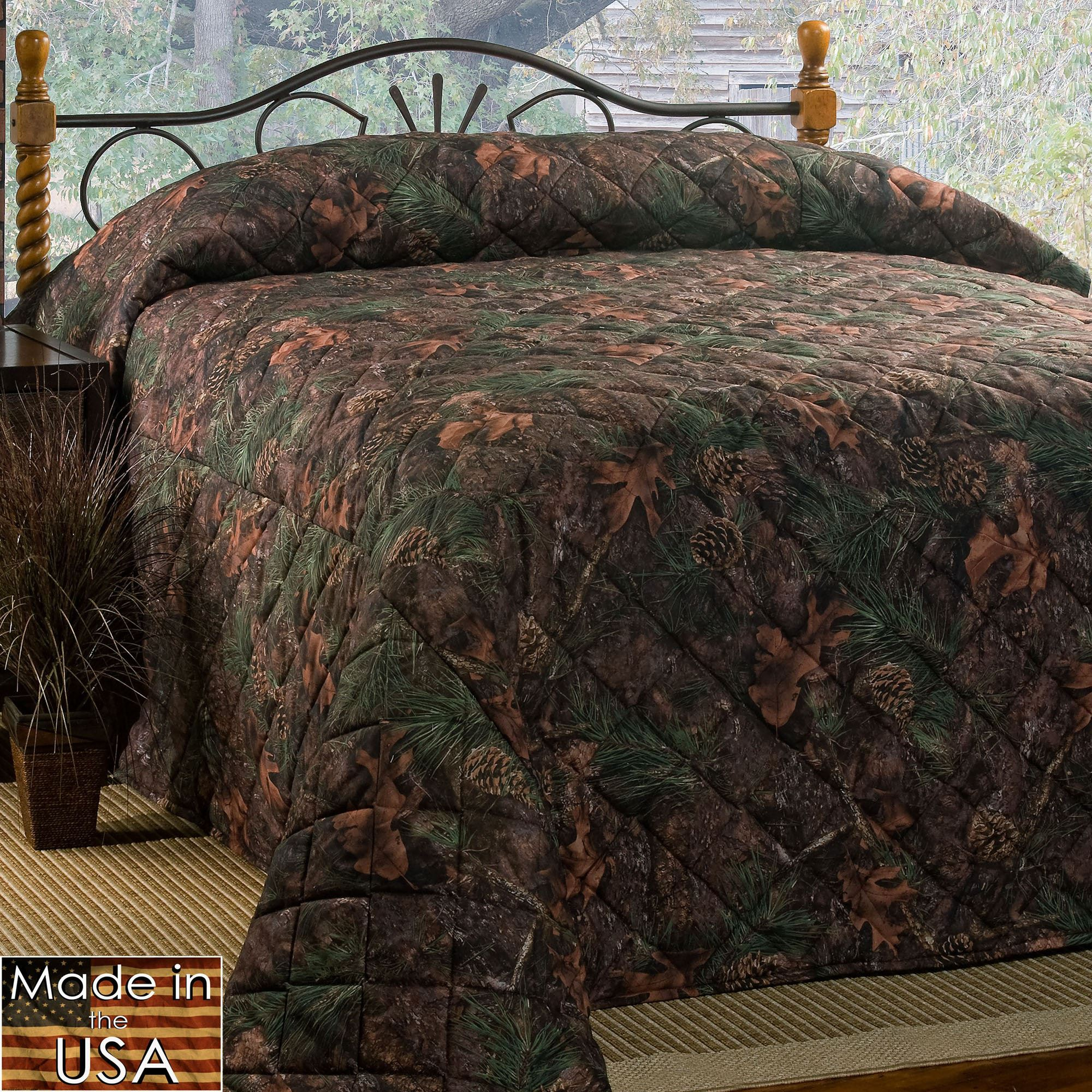 Mixed Pine Rustic Camo Quilted Bedspread Bedding : camo quilt bedding - Adamdwight.com
