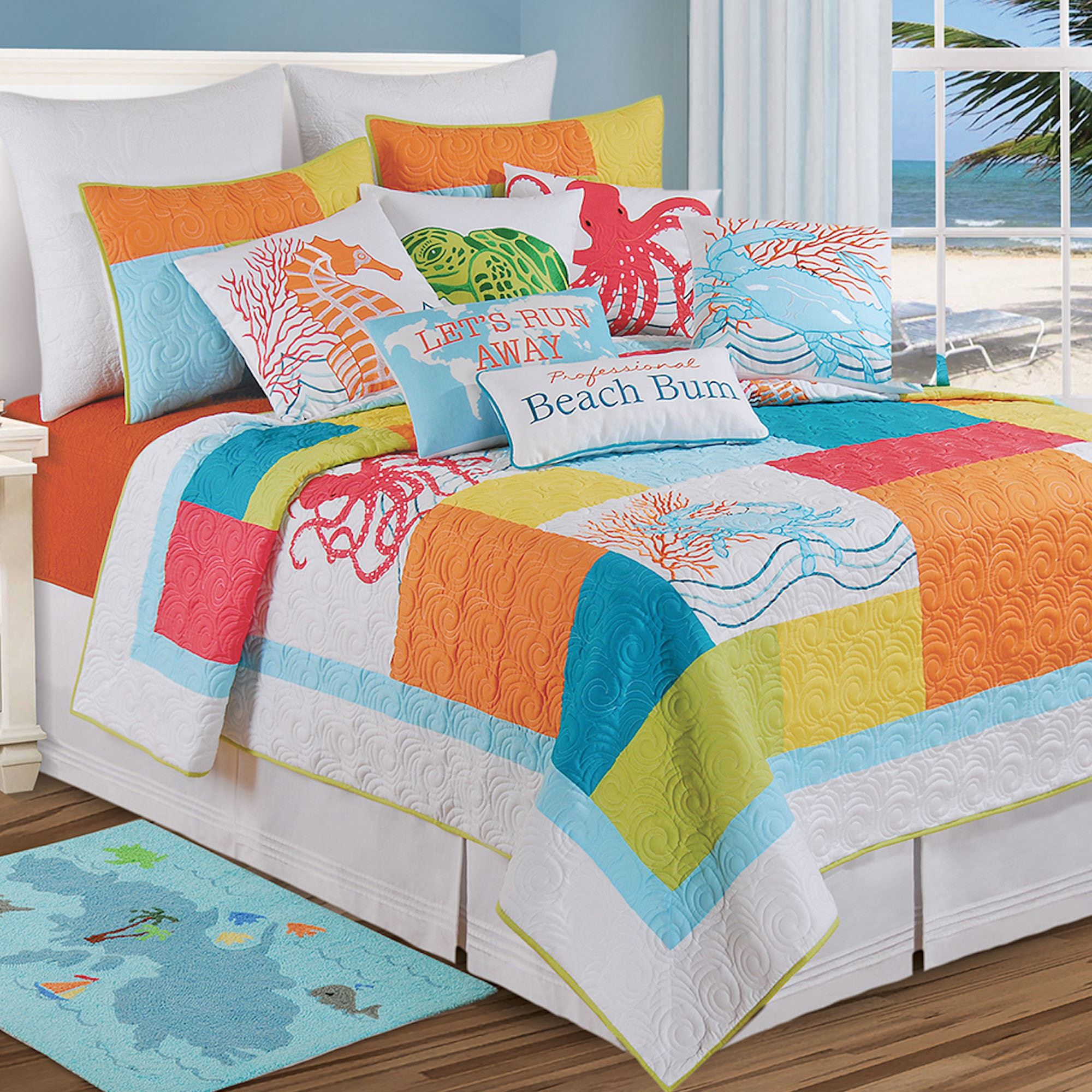 Turquoise Bedroom Accessories Tropic Escape Bright Coastal Beach Quilt Bedding