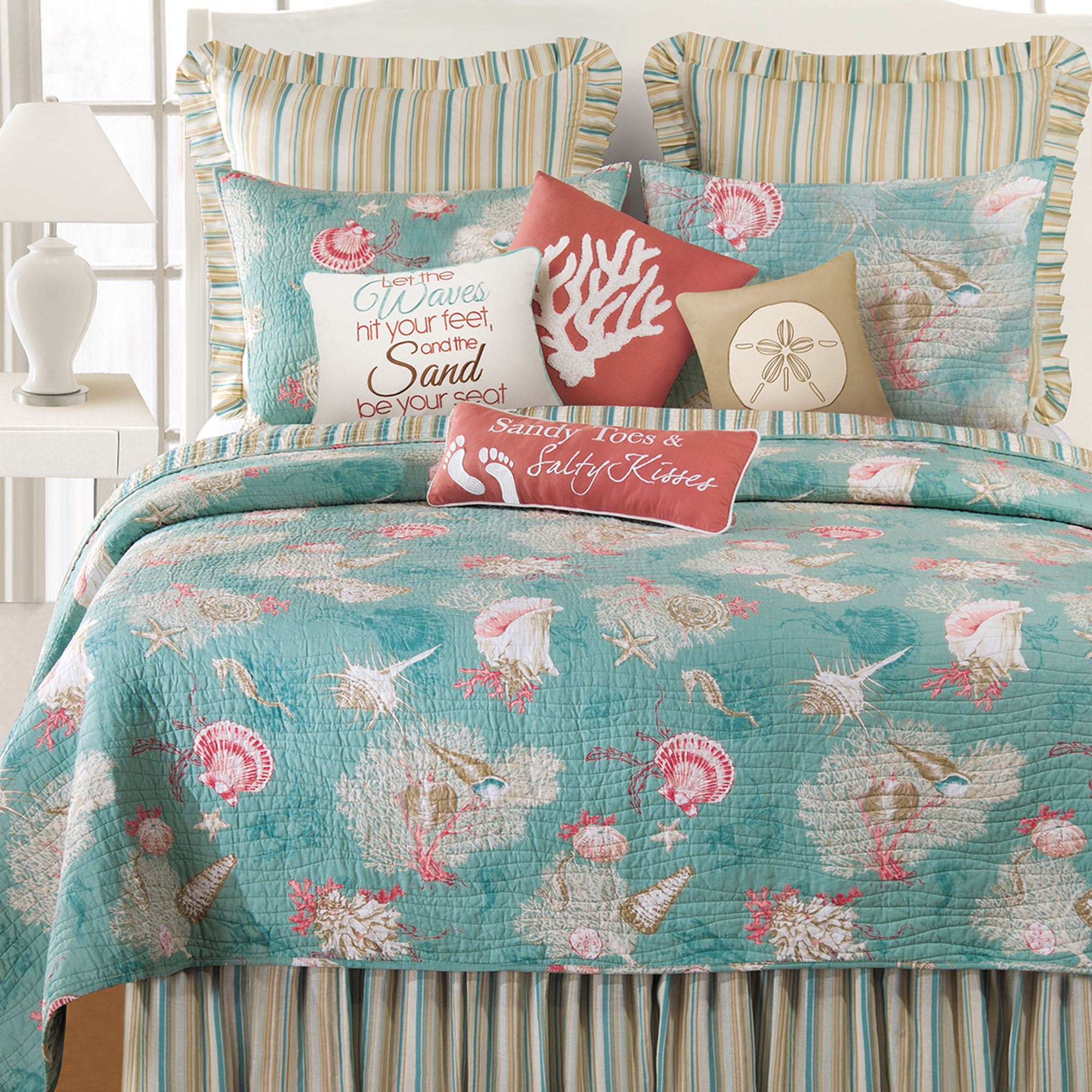 Santa Catalina Coastal Seashell Quilt Bedding : teal quilt bedding - Adamdwight.com