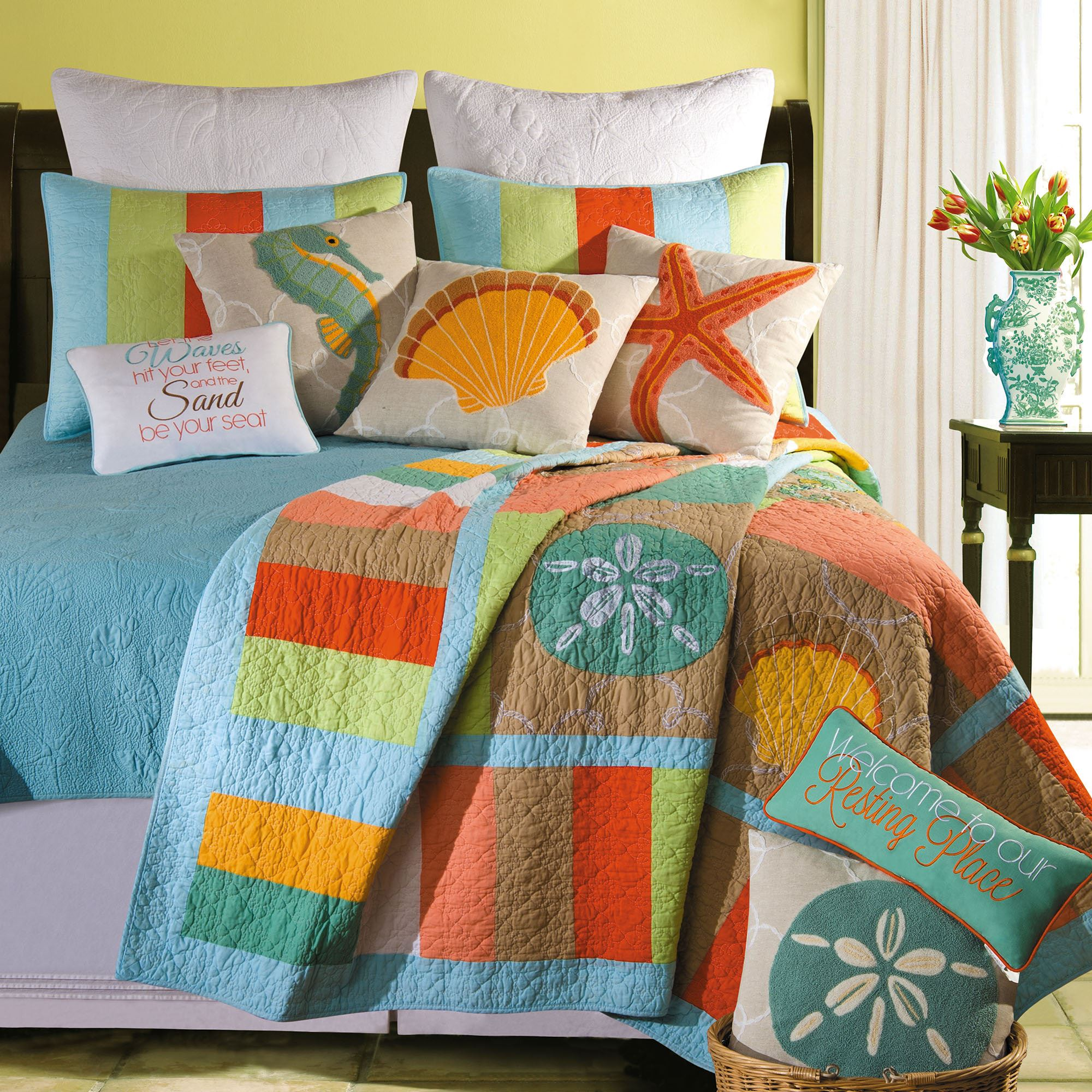 Washed Ashore Beach Themed Quilt Bedding. Washed Ashore Quilt Multi Jewel.  Touch To Zoom