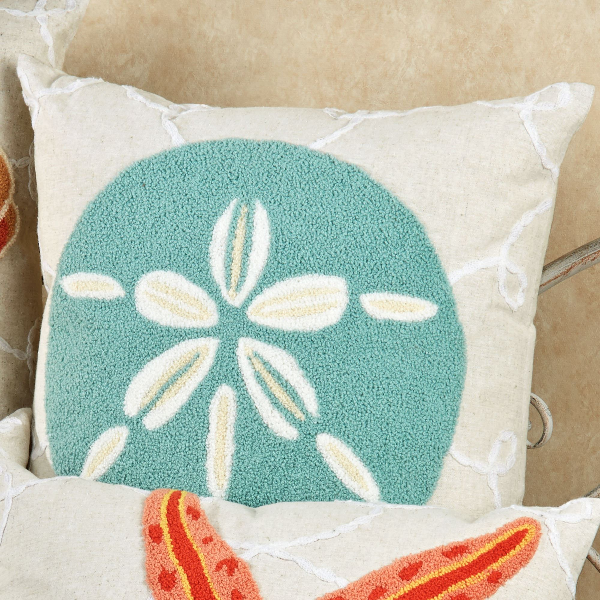 . washed ashore beach themed decorative pillows
