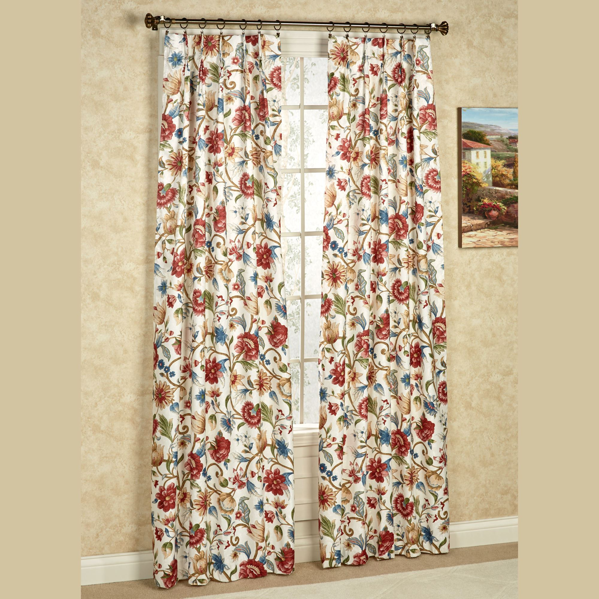 curtains leaf embroidered amrapur x pair overseas curtain garden panel subcat drapes floral pattern home swirl less overstock for