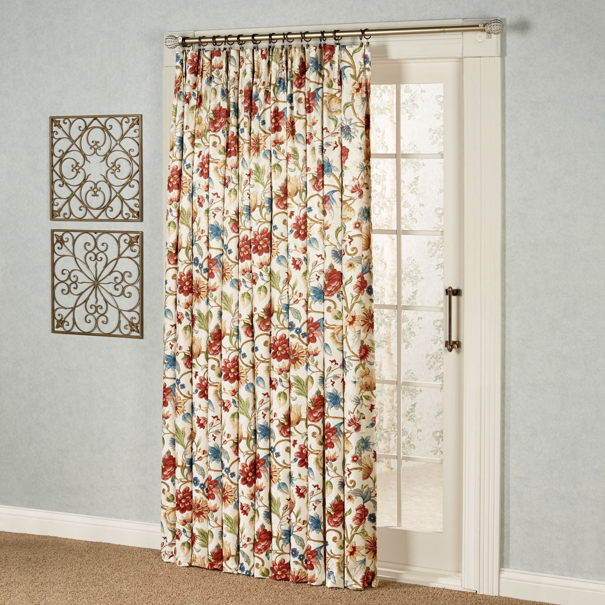 Cornwall Pinch Pleat Thermal Room Darkening Floral Patio Panel