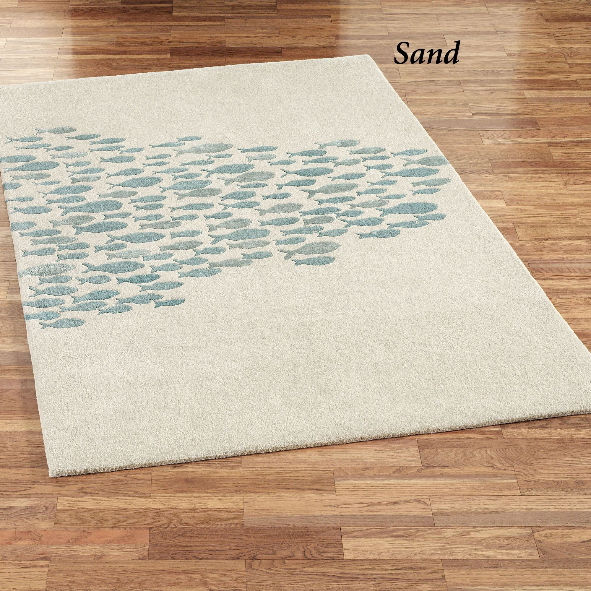 Schooled Fish Wool Area Rugs