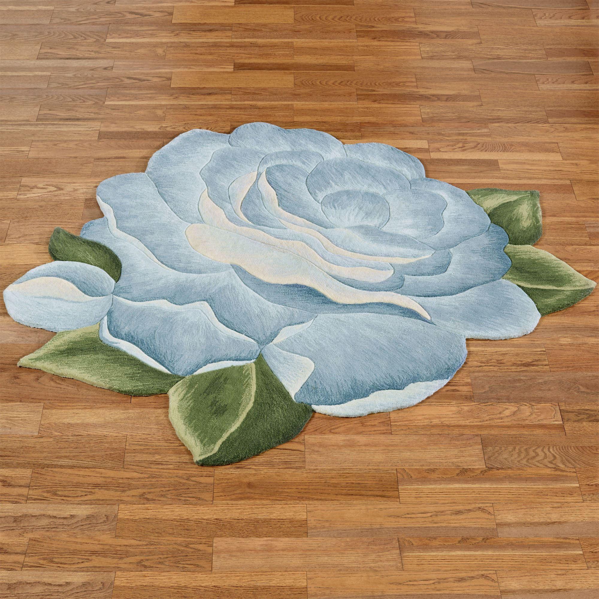 Vintage Charm Blue Rose Flower Shaped Rugs