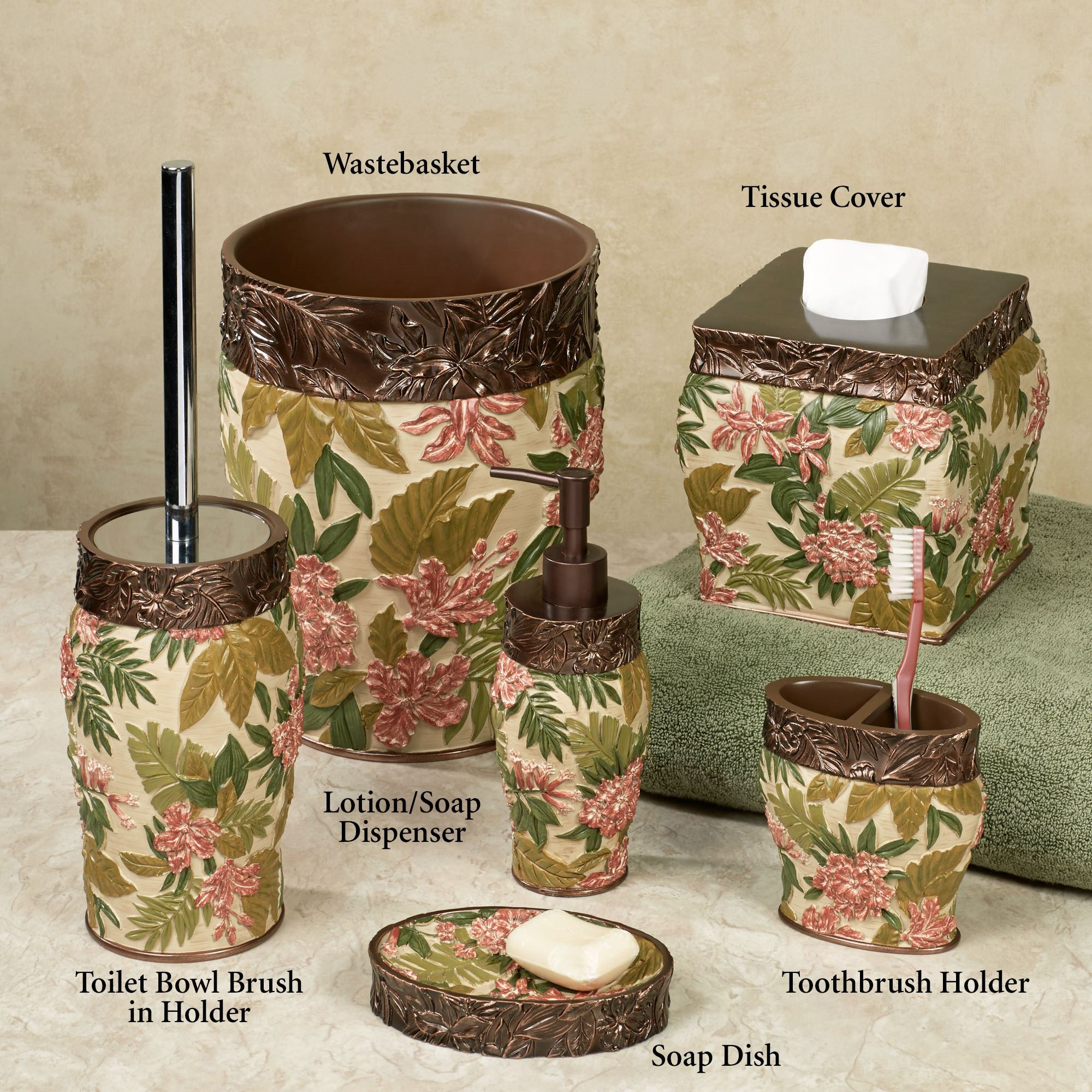 Tropical haven bath accessories for Green and brown bathroom set