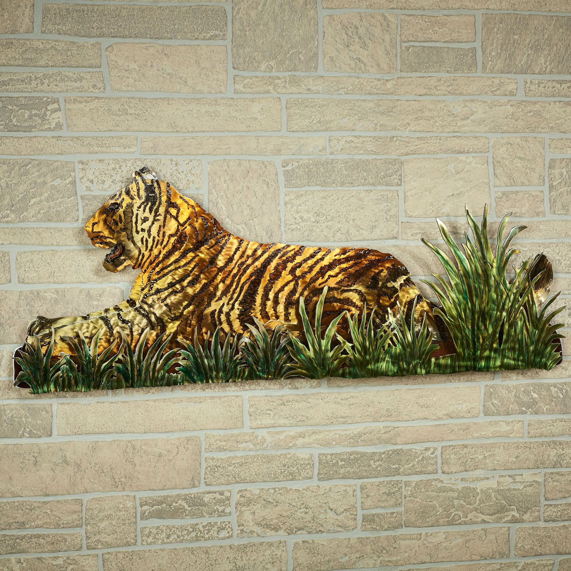 Jungle Watch Tiger Metal Wall Sculpture