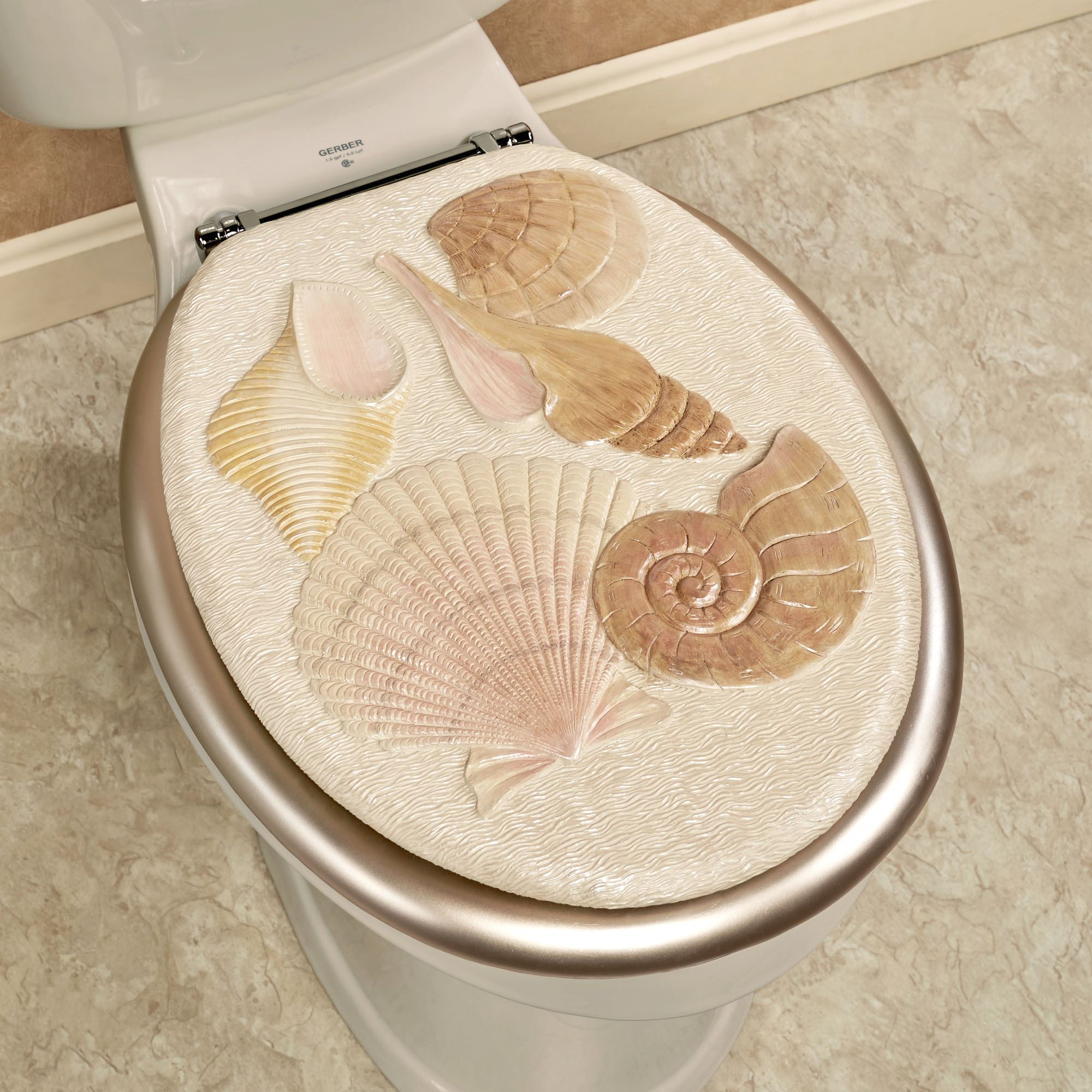 Sea Shell Coastal Elongated Toilet Seat