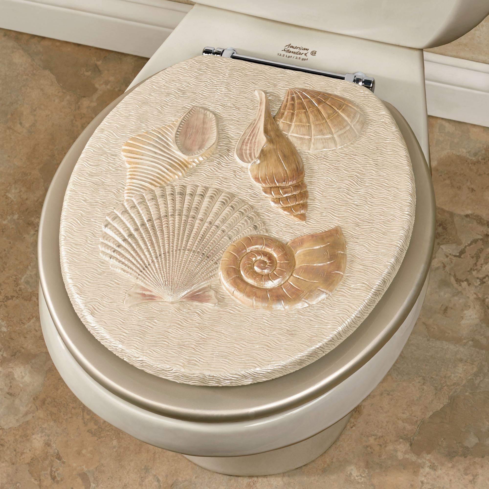 gold foil toilet seat. Sea Shell Standard Toilet Seat Champagne Decorative Seats  Elongated Touch of Class
