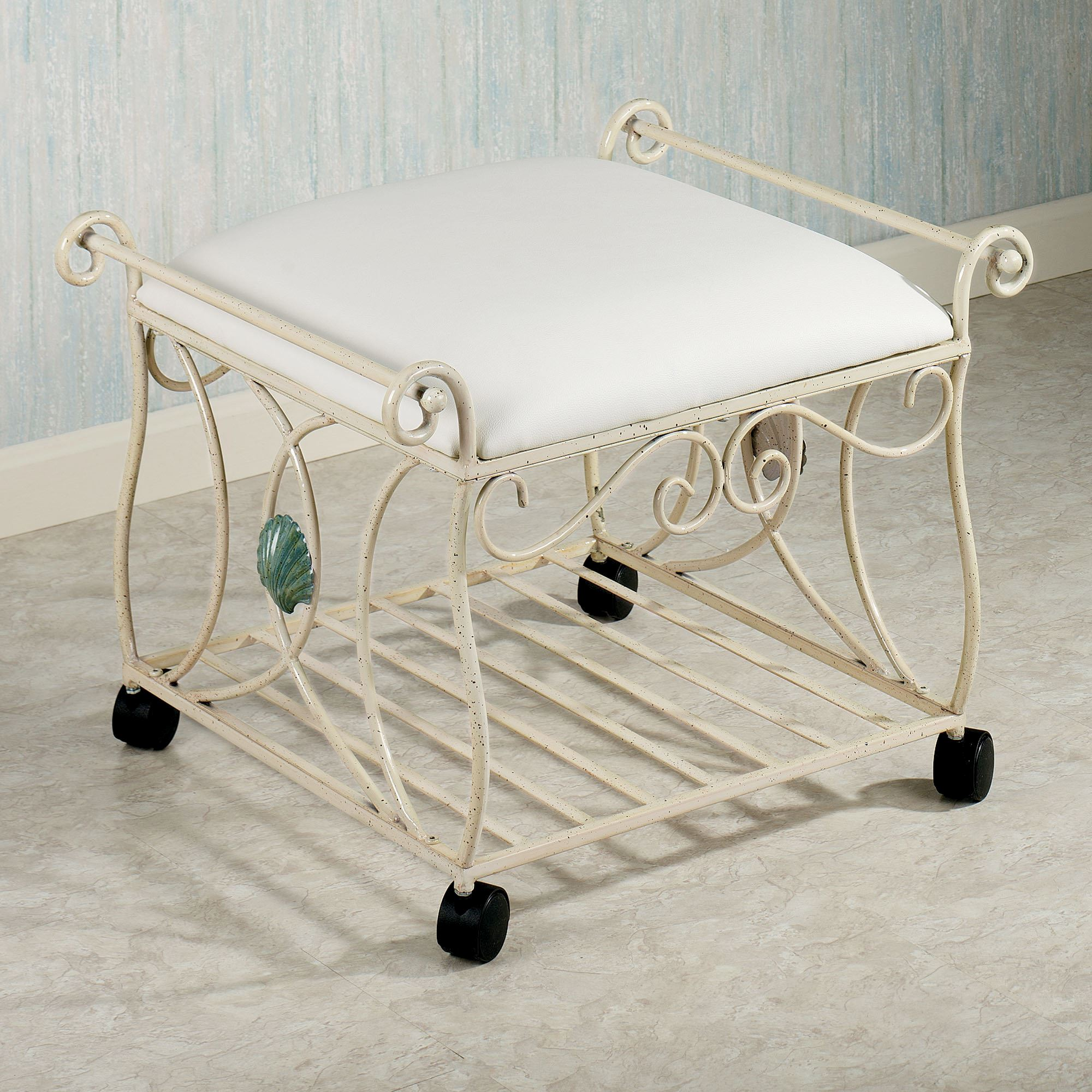 Sea Breeze Metal Vanity Stool