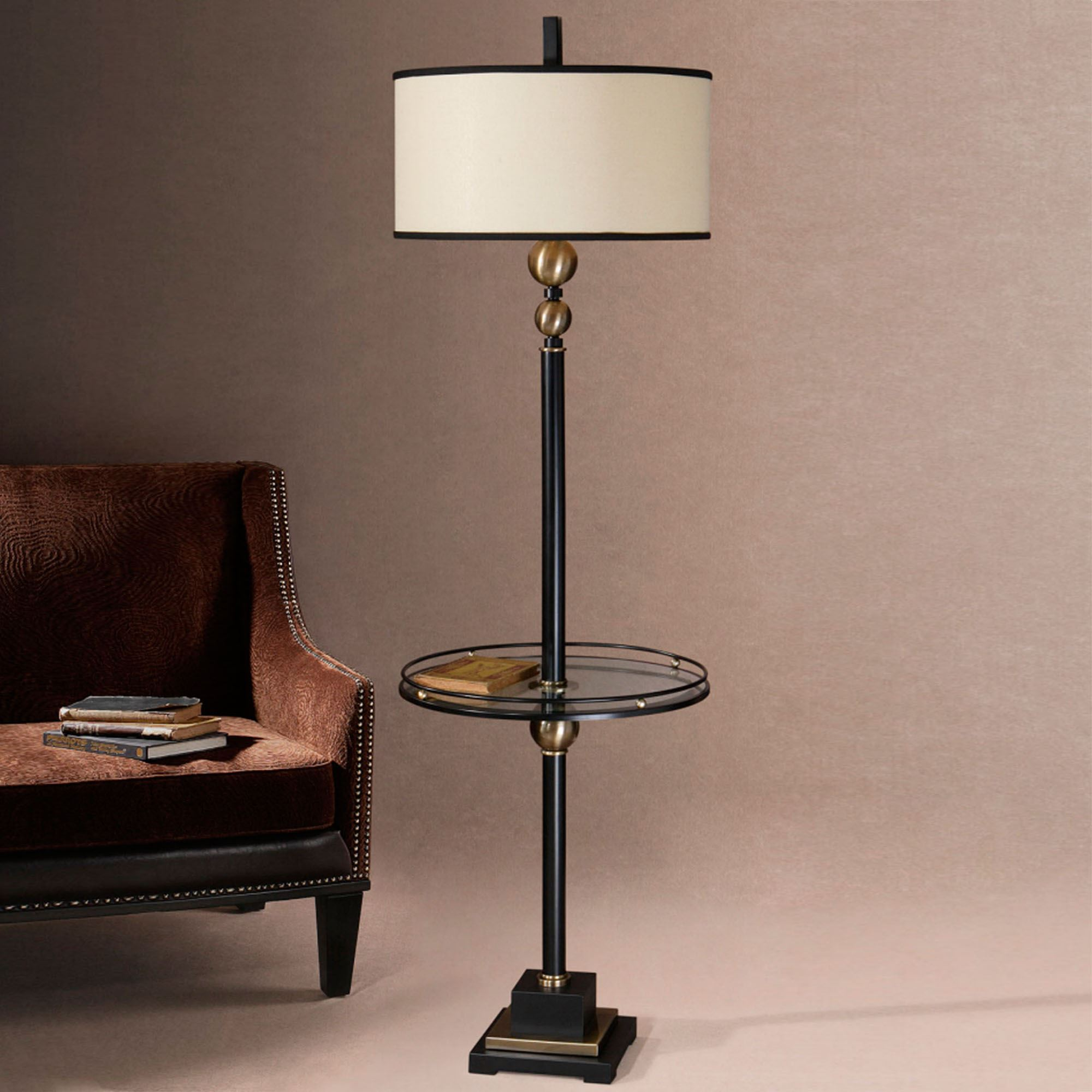 Joaquin floor lamp with attached glass table joaquin floor lamp black each click to expand geotapseo Image collections