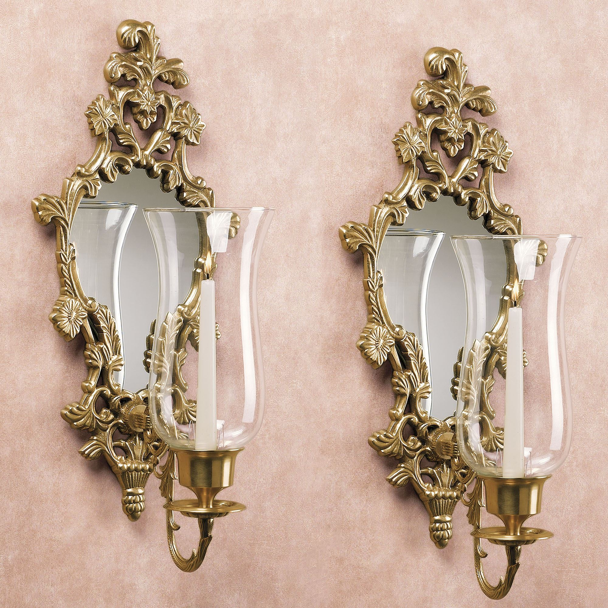 Athea Mirrored Brass Wall Sconce Pair