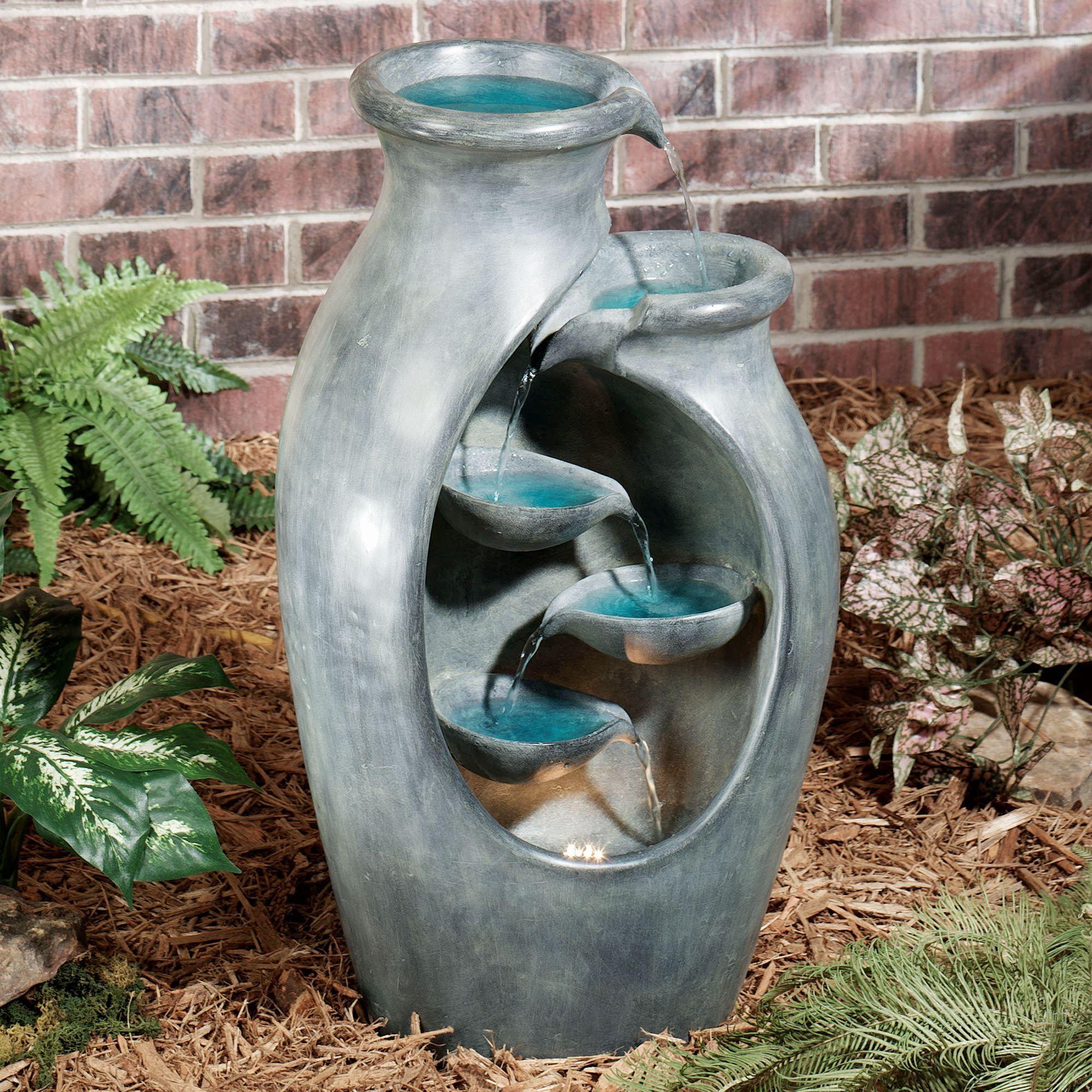 Quiet Splendor Lighted Indoor Outdoor Water Fountain M356 001 M356 001