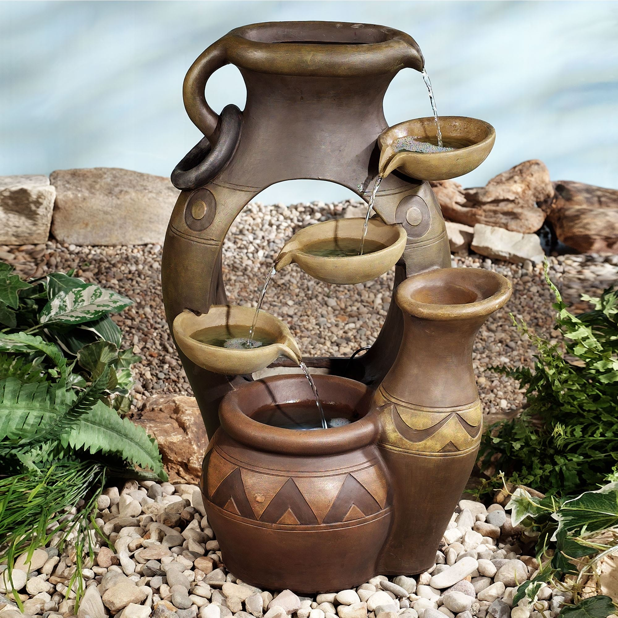 Antonito Lighted Indoor Outdoor Water Fountain. Antonito Water Fountain  Brown. Click To Expand