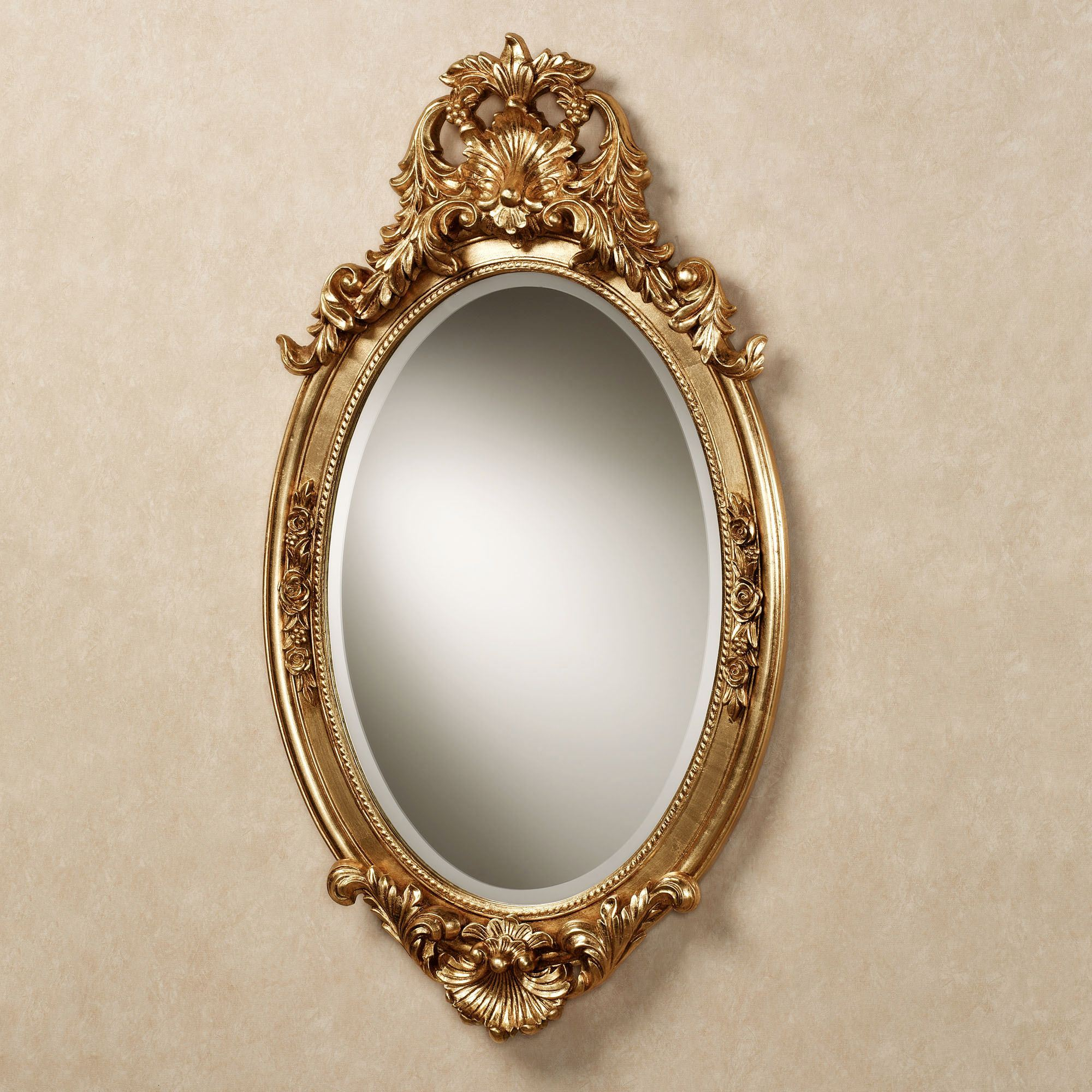 Hallandale acanthus leaf oval wall mirror for Plastic baroque mirror