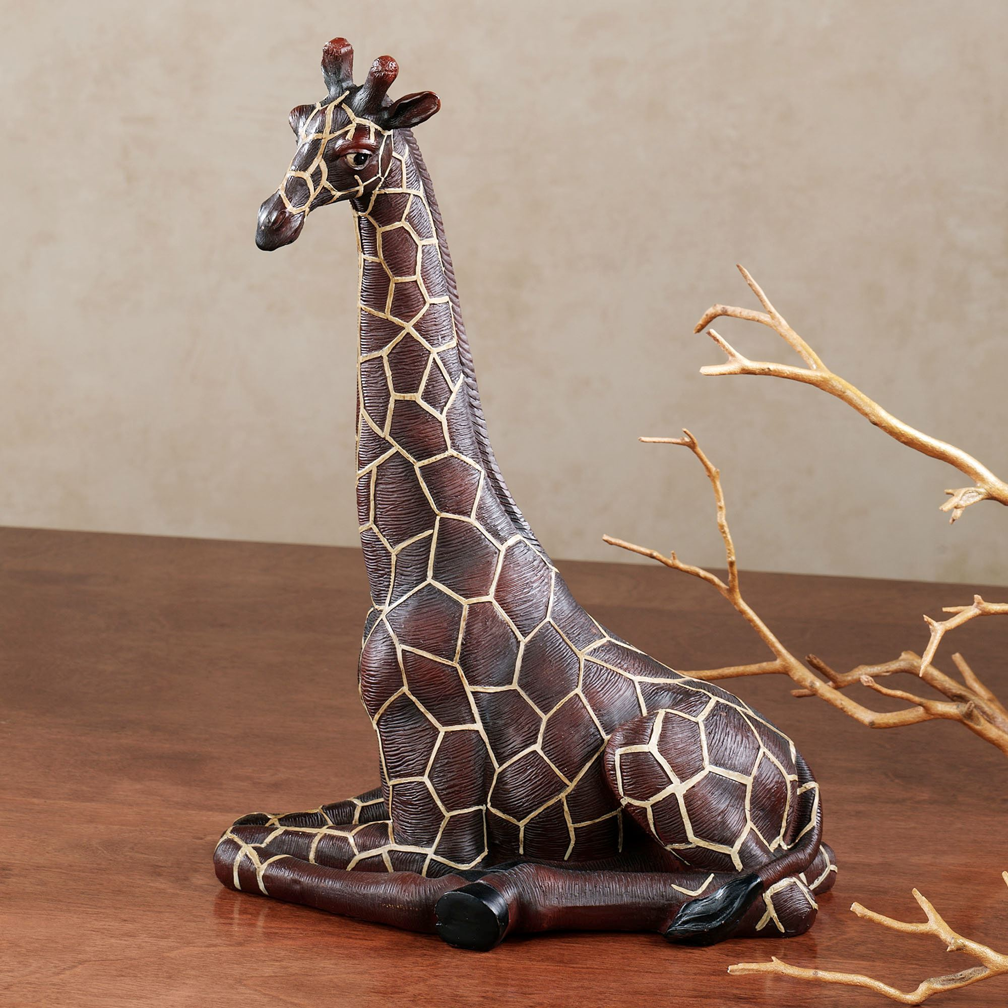 Resting Giraffe Table Sculpture Brown. Touch To Zoom
