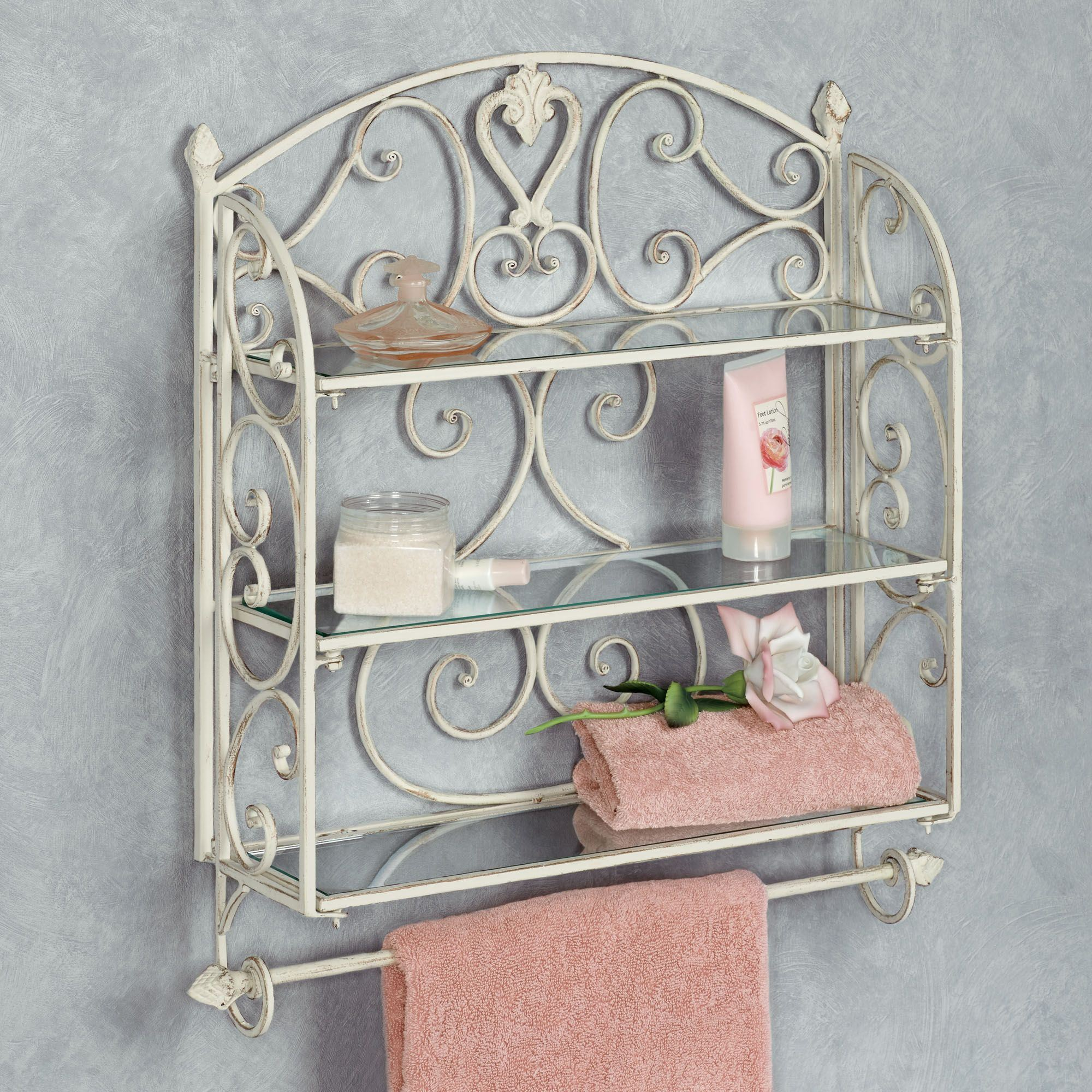 Aldabella Creamy Gold Wall Shelf Towel Bar. Touch To Zoom