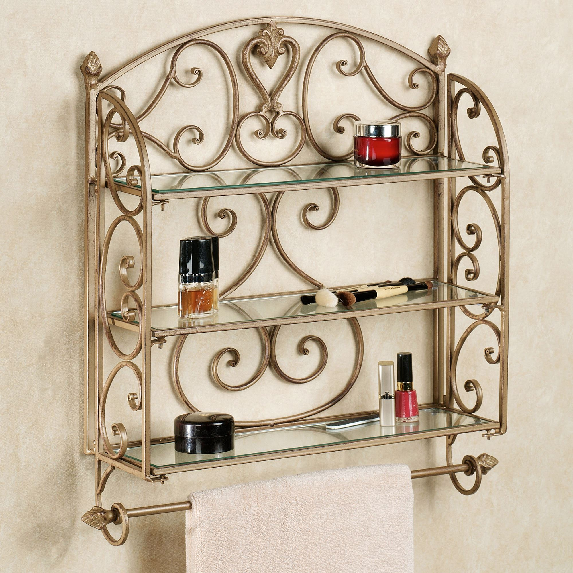 Aldabella Satin Gold Wall Shelf Towel Bar - Wrought iron bathroom wall shelves