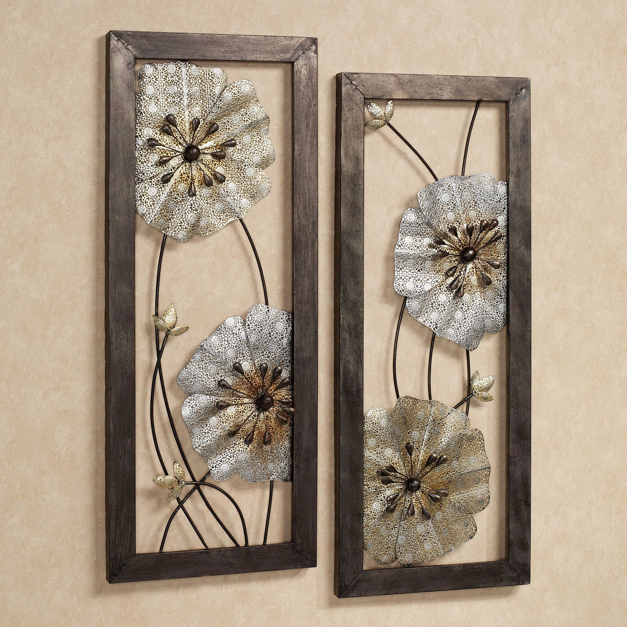 FREE SHIPPING. Malacia Floral Metal Wall Art ... & Malacia Openwork Floral Metal Wall Art Set