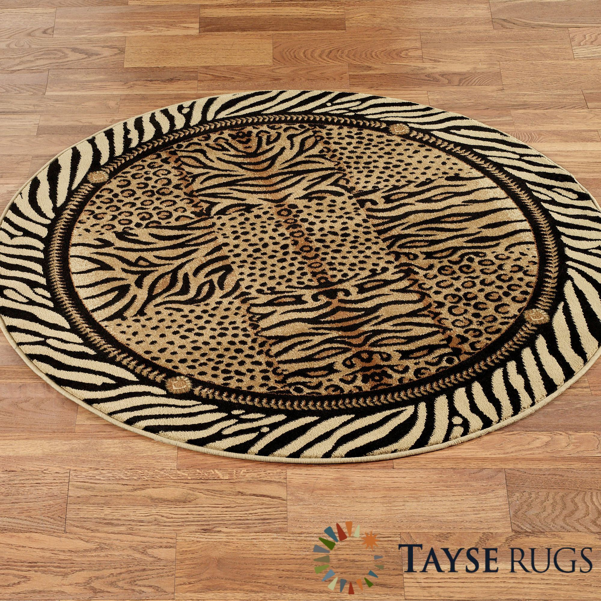 Dog Themed Outdoor Rugs: Festival Jungle Animal Print Round Rug