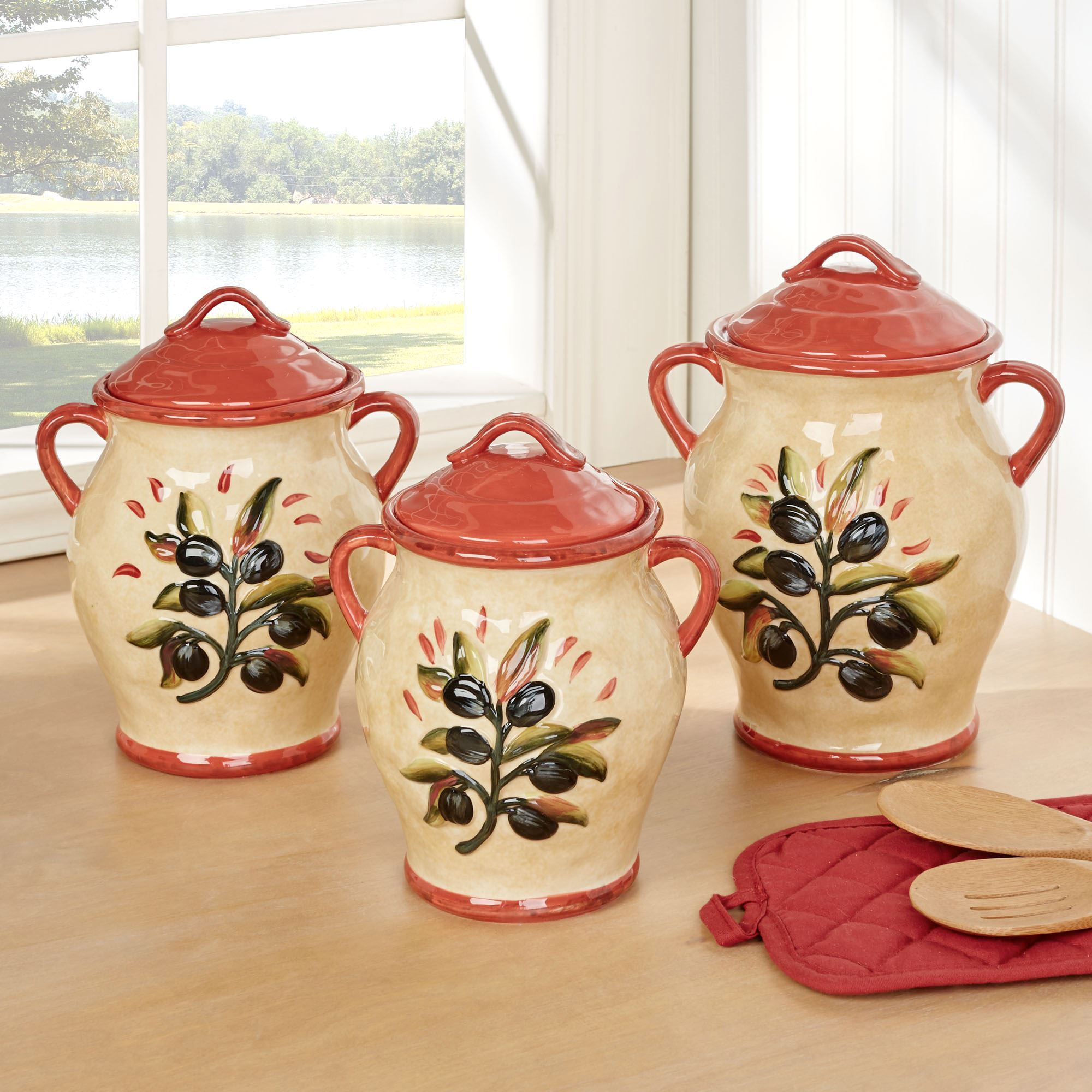 Umbria Olive Italian Themed Kitchen Canister Set