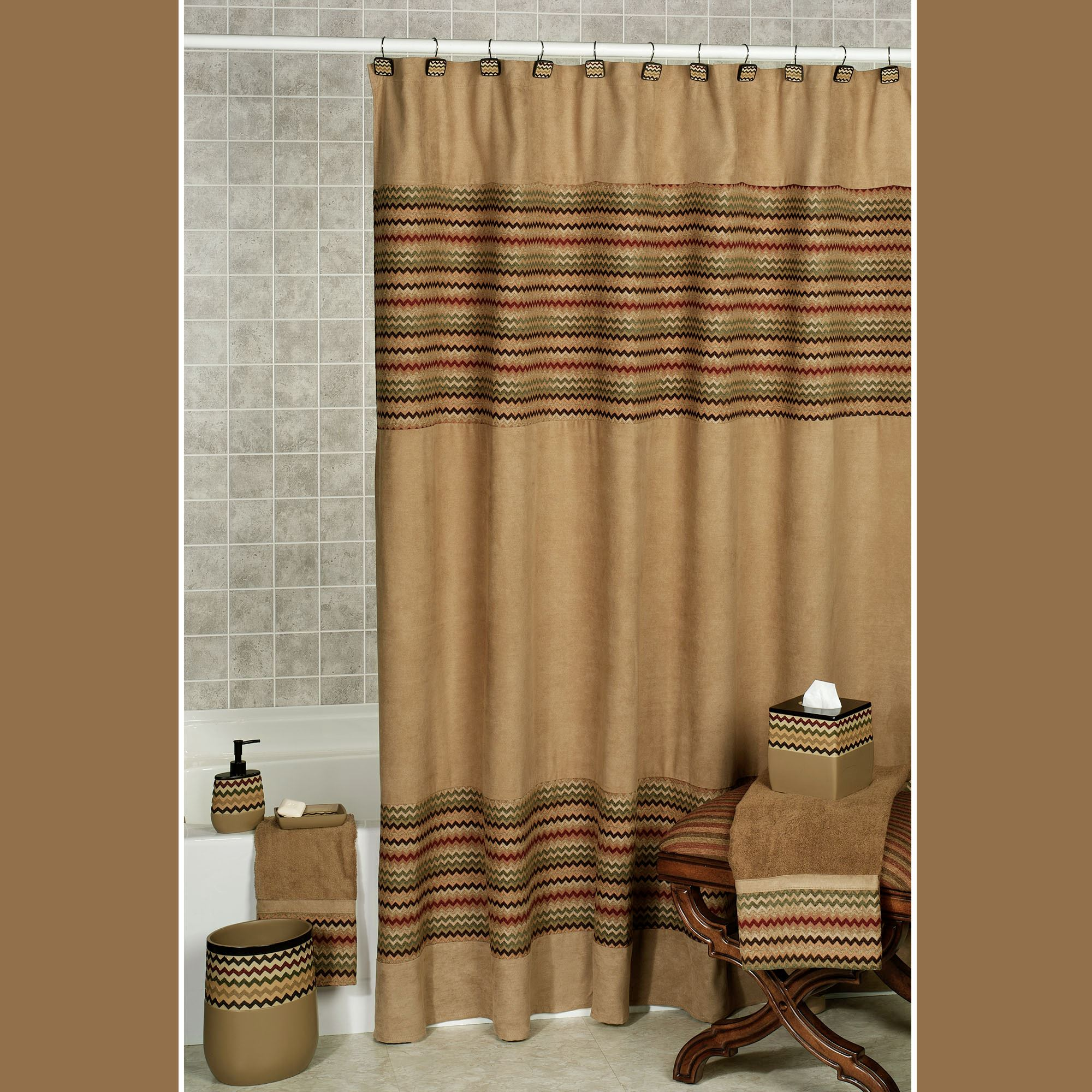 Waves Shower Curtain Tan Brown 70 X 72