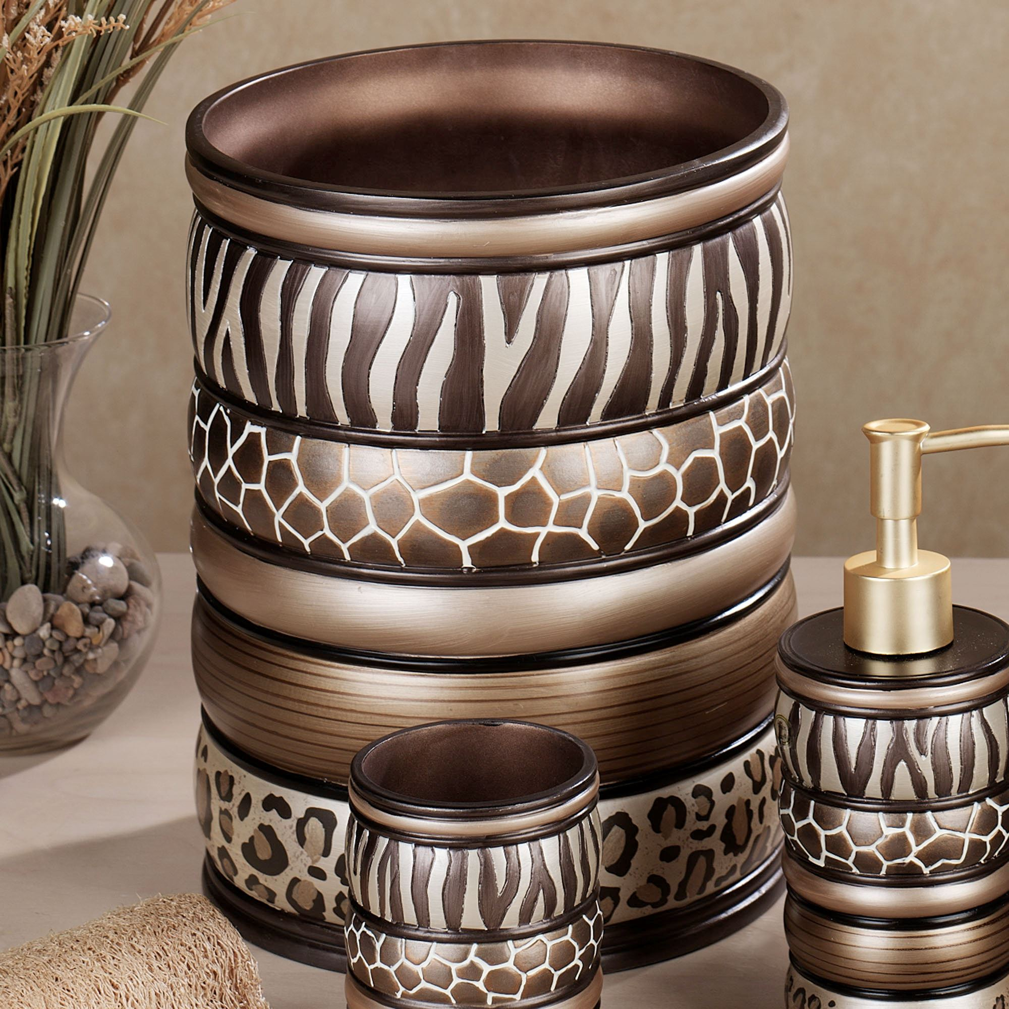 Safari Stripes Wastebasket Multi Metallic