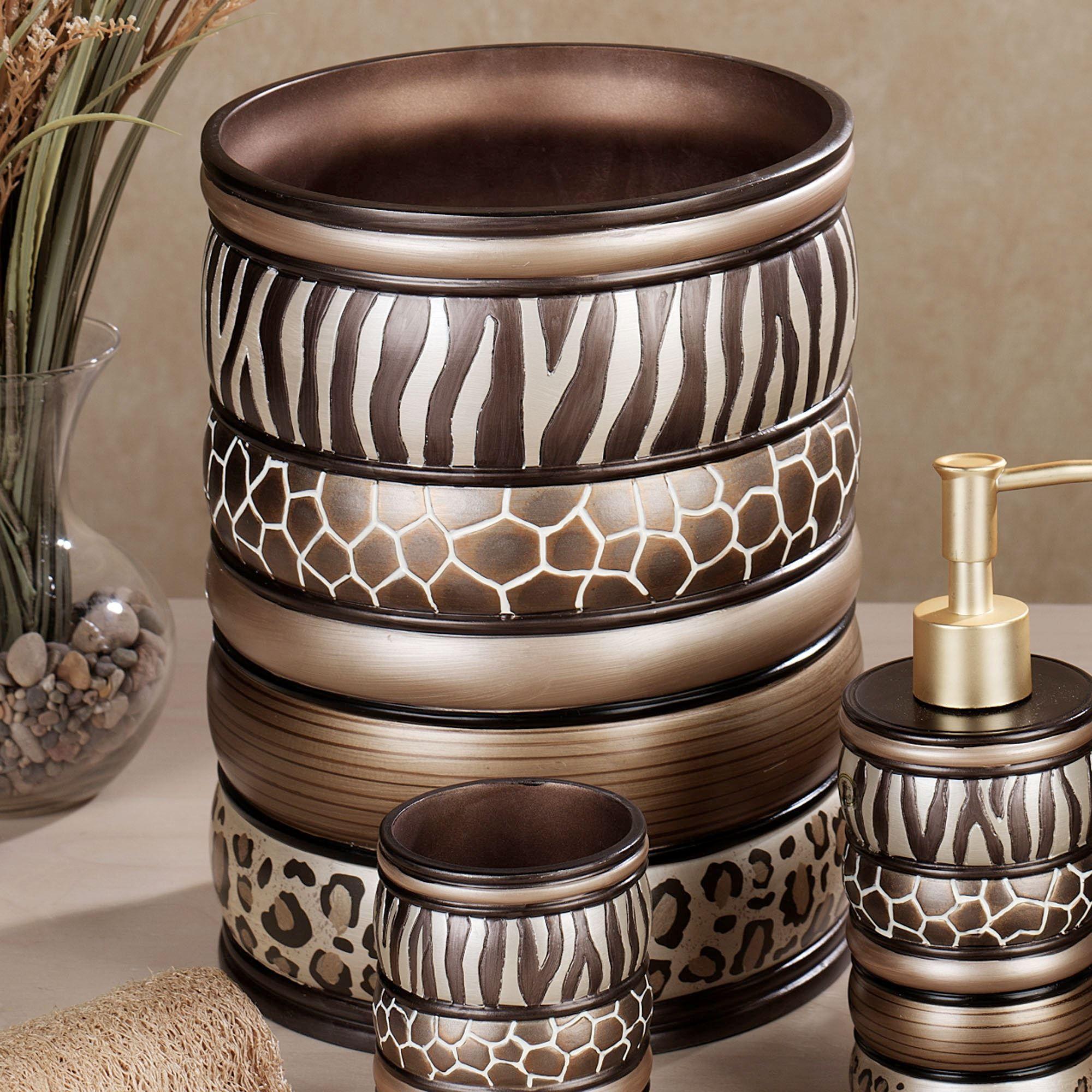 Merveilleux Safari Stripes Wastebasket Multi Metallic