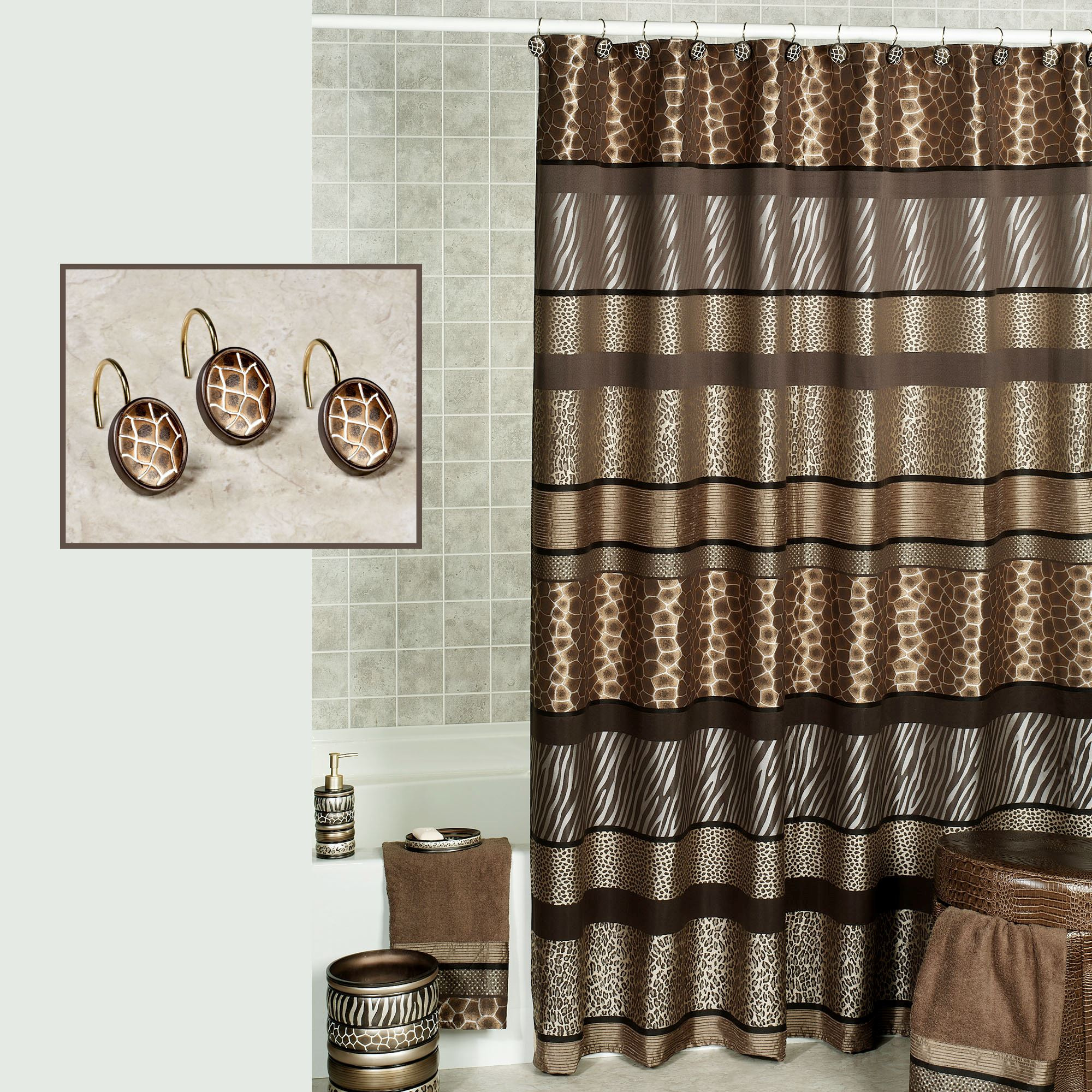 Safari Stripes Shower Curtain Multi Metallic 70 x 72