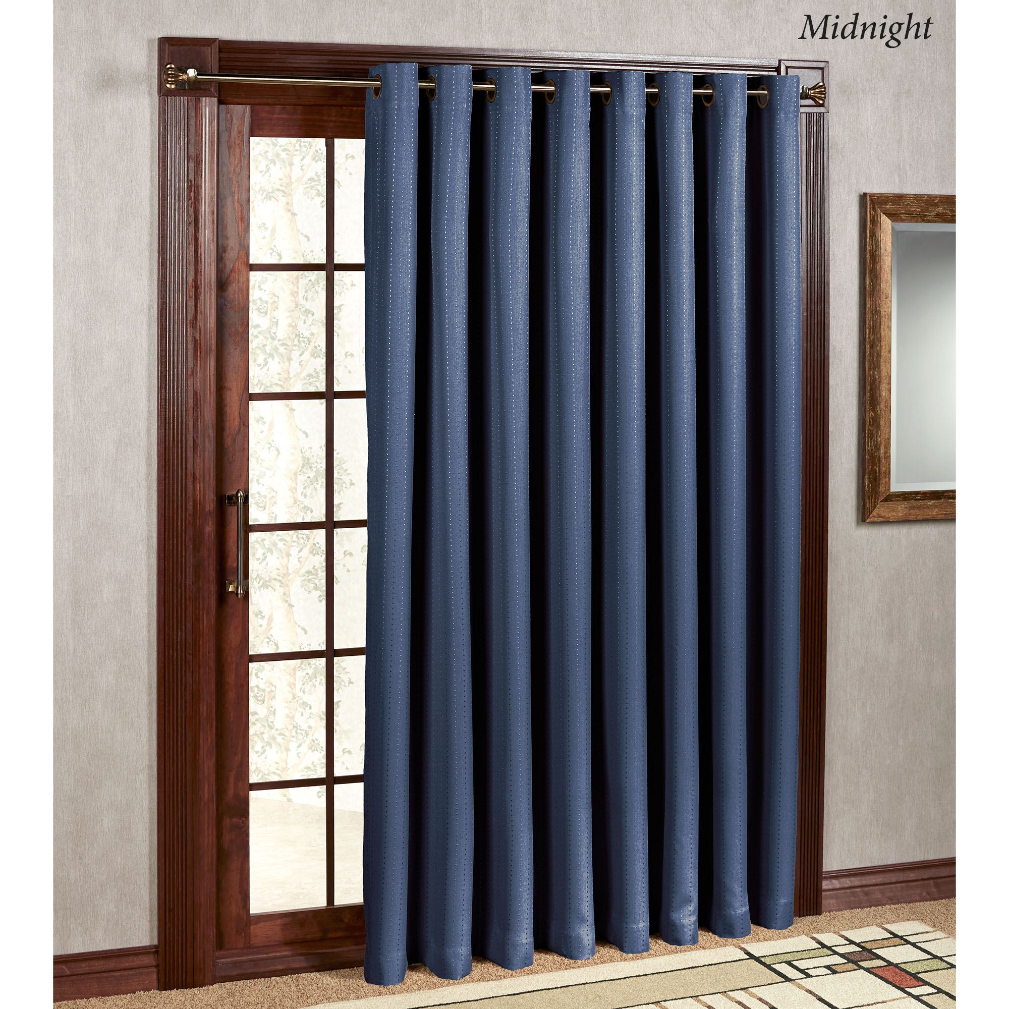 Grand pointe room darkening thermal grommet patio panel for Balcony curtains