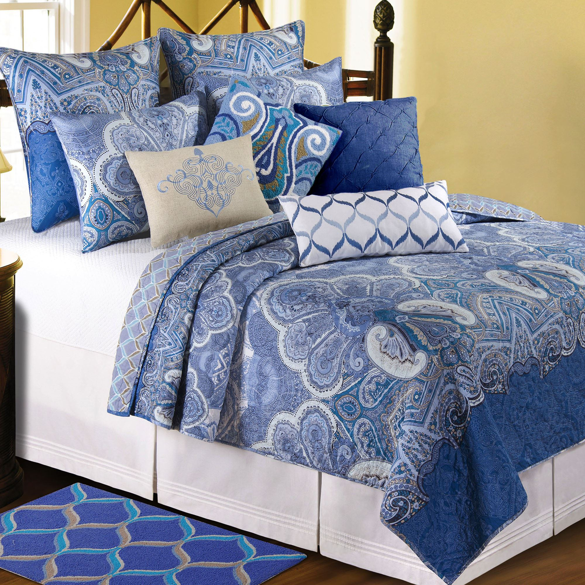 patchwork quilt quilts blue
