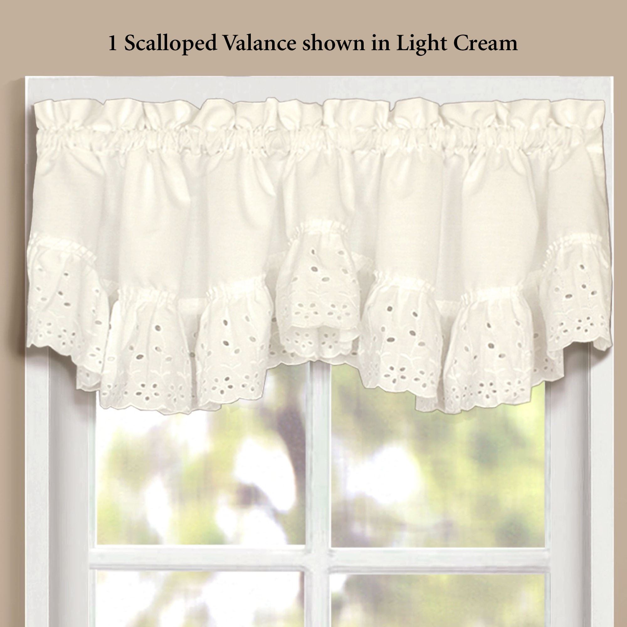 Vienna Ruffled Eyelet Scalloped Window Valance