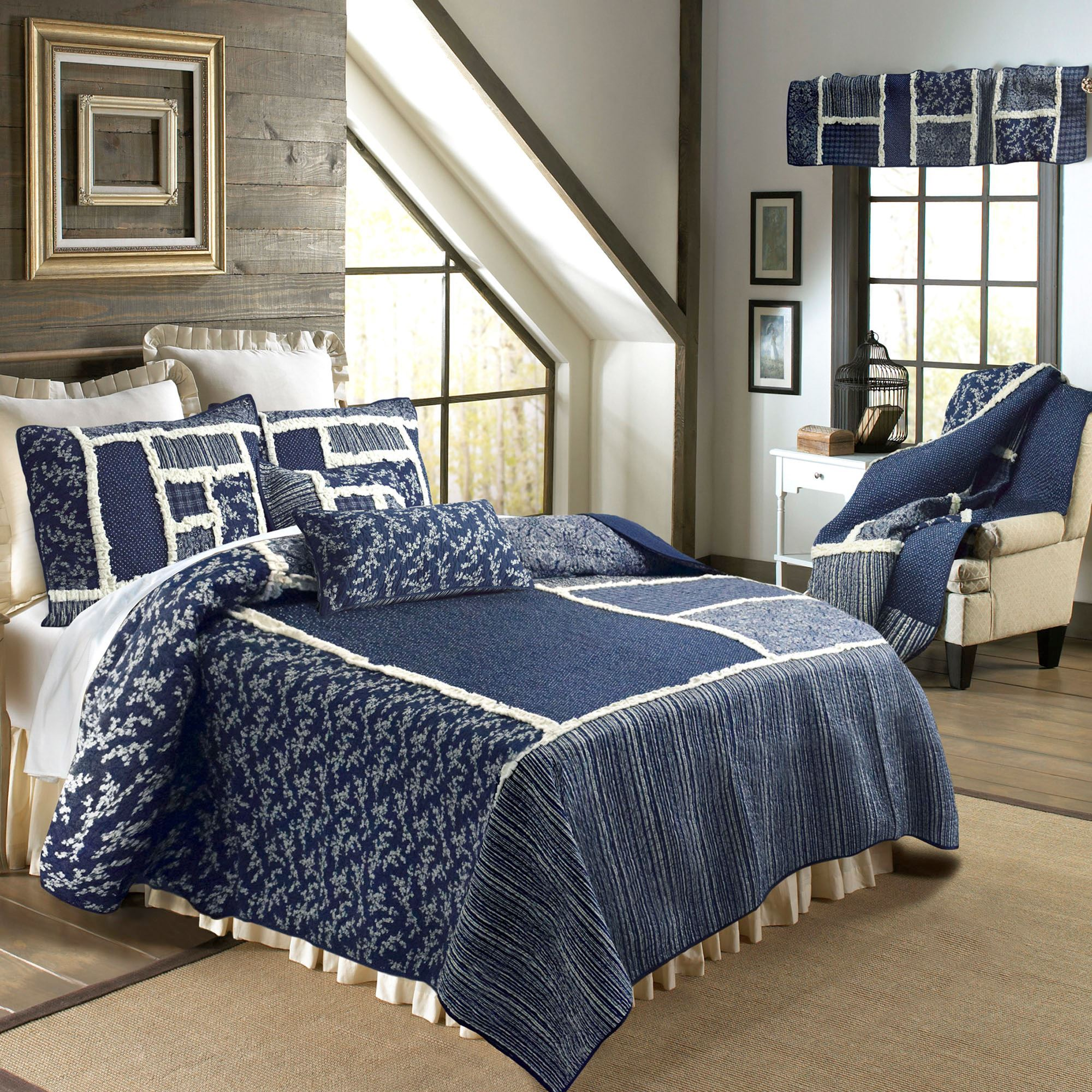 Bandana Block Midnight Blue Quilt Bedding By Donna Sharp