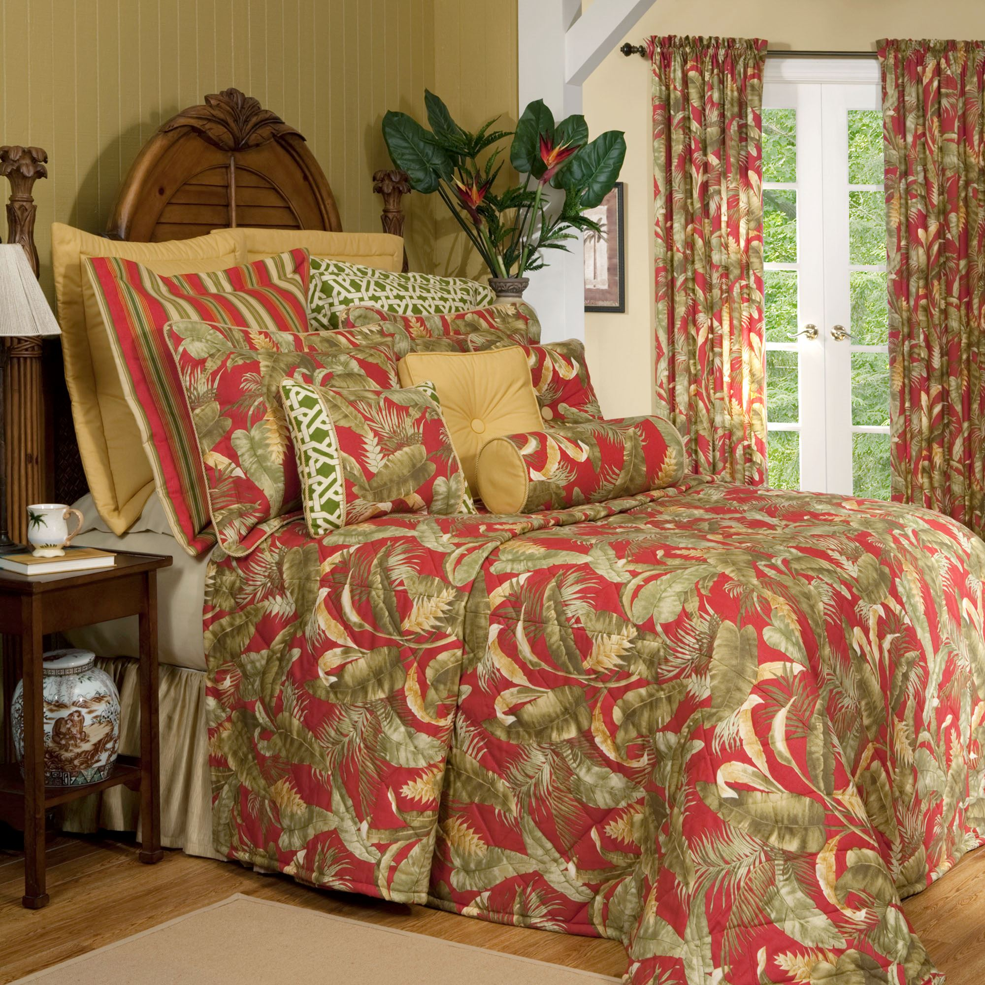 Captiva Dark Red Tropical Quilted Bedspread