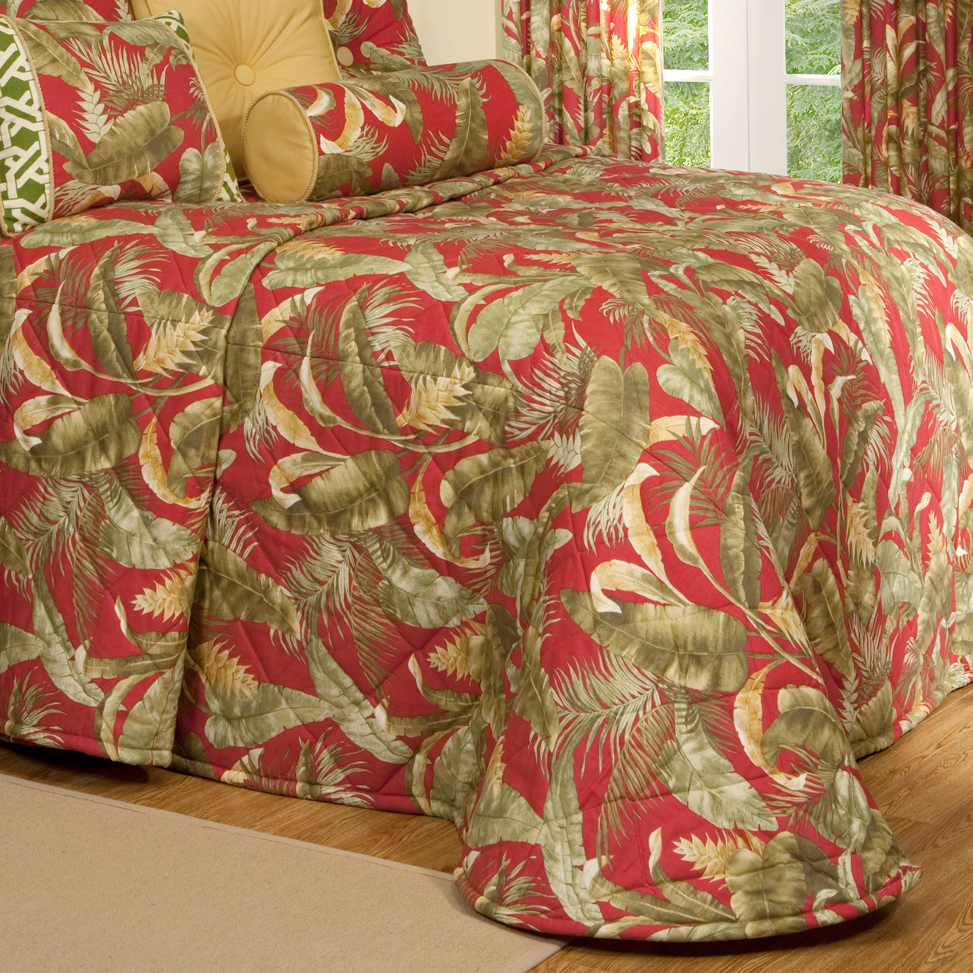 Captiva Dark Red Tropical Quilted Bedspread : red quilted bedspreads - Adamdwight.com